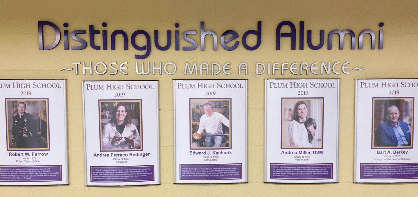 """Plum High School Distinguished Alumni Committee is proud to share the Class of 2020 Distinguished Alumni. The committee was created to recognize """"Plum High School alumni who have distinguished themselves in various fields of excellence or have made a majo"""