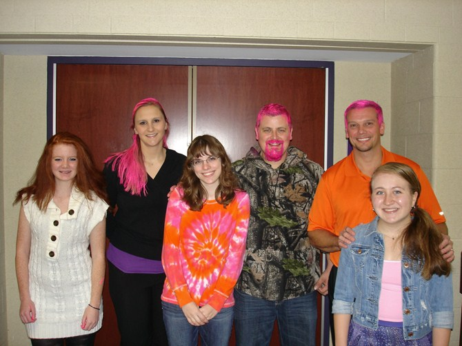 The teachers and students after the PINKING on 10/31/13