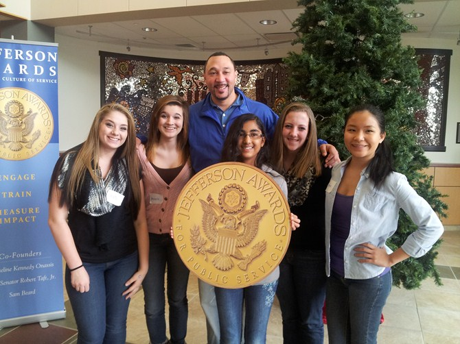 GLA members with Keynote Speaker Charlie Batch at the Jefferson Award Leadership Conference 11/17/13