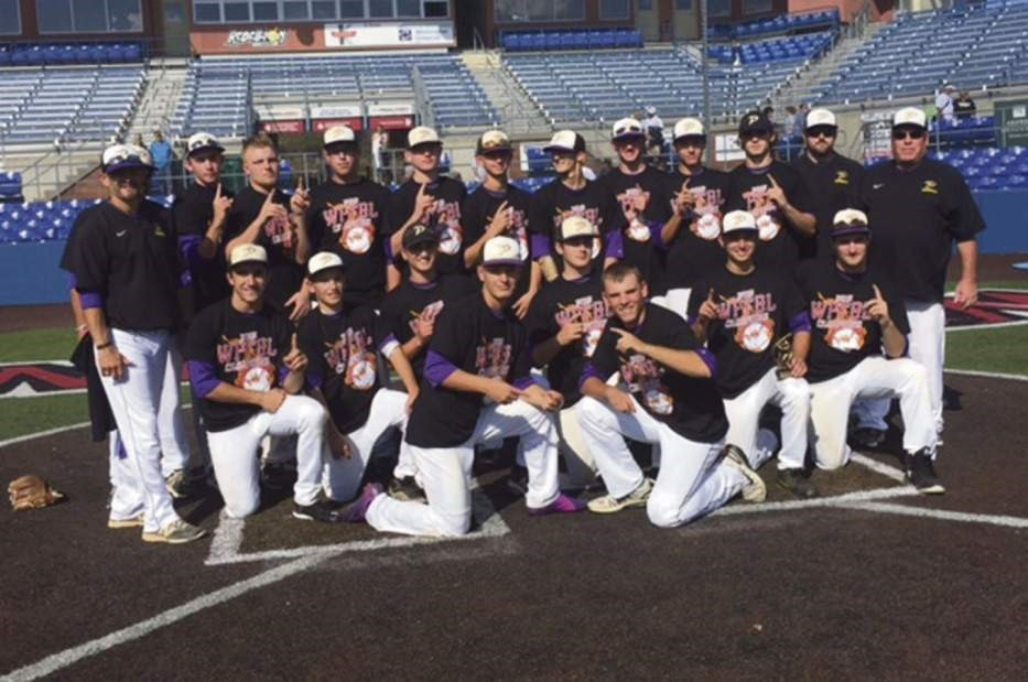 Plum fall baseball team players celebrate their W. PA Fall Baseball League title