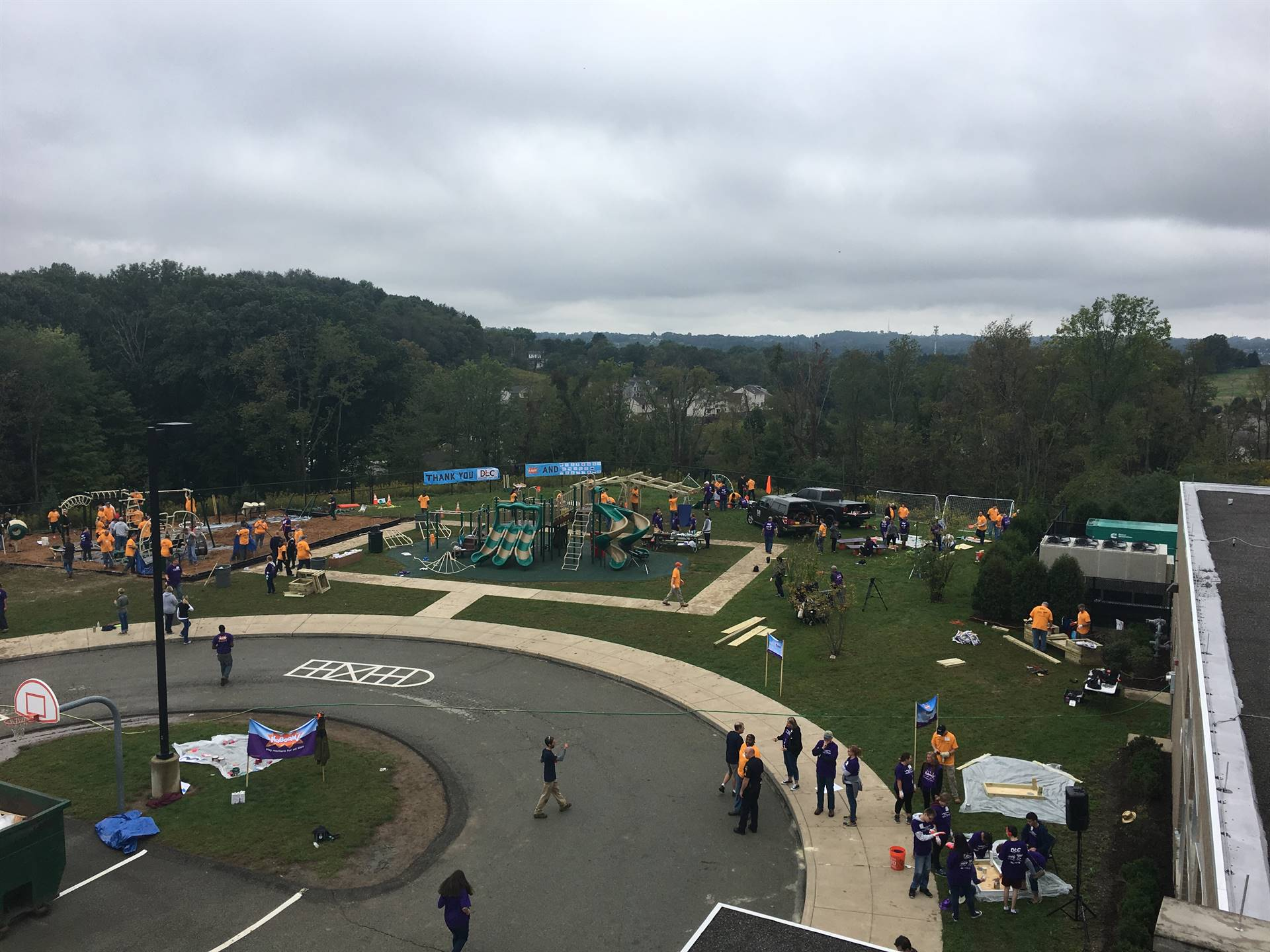 A view from above while the playground was being built