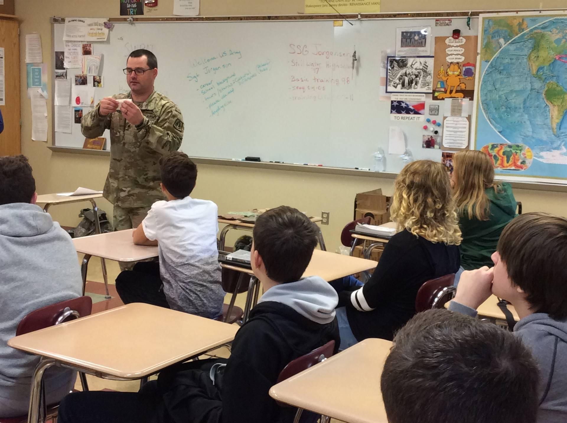 Guest Speaker - Staff Sergeant Jorgensen from the U.S. Army