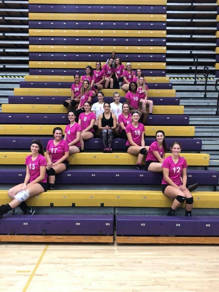 Girls Volleyball Breast Cancer Awareness Month