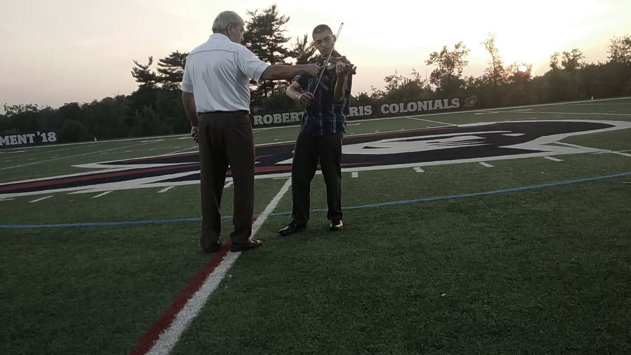 Plum junior, David Gale, played the National Anthem at the WPIAL Lacrosse Championship Game