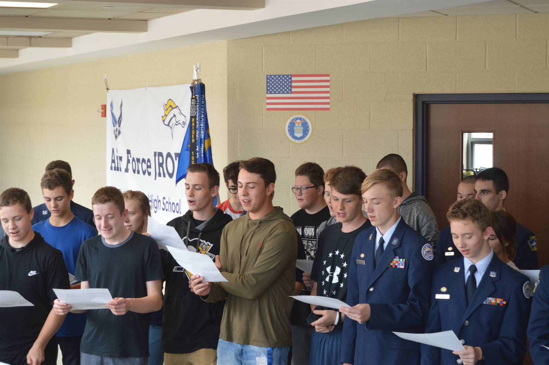 Plum AFJROTC cadets and staff celebrated the Air Force's 71st birthday with a cake and the Air Force