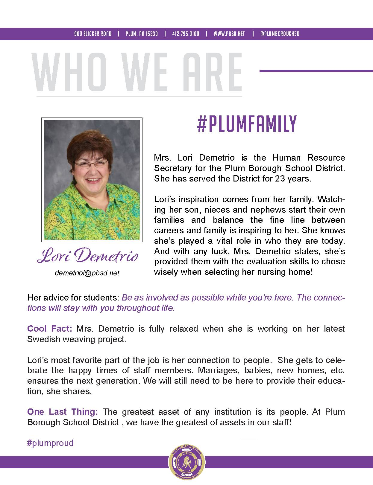 Who We Are Wednesday features Lori Demetrio.