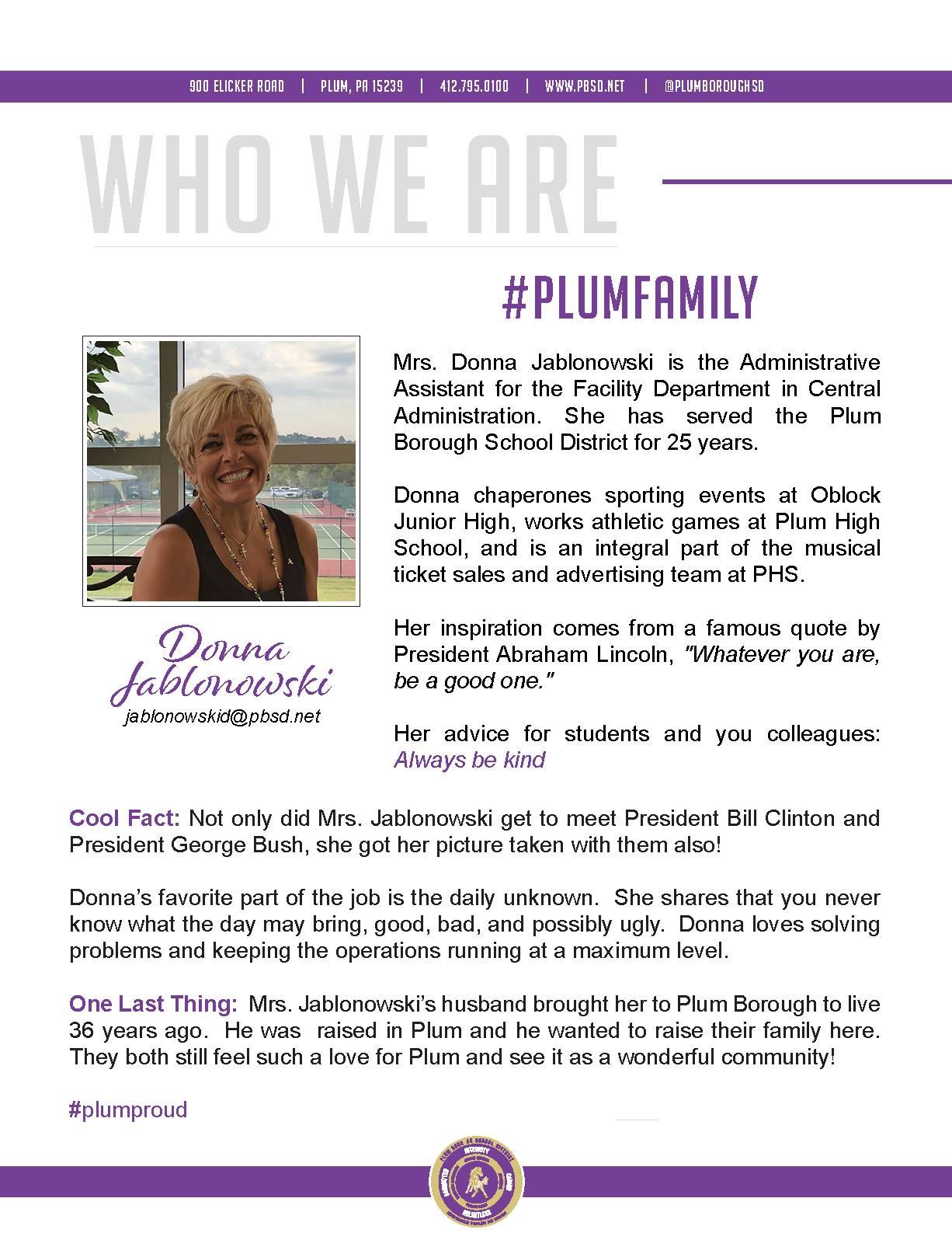 Who We Are Wednesday features Donna Jablonowski.