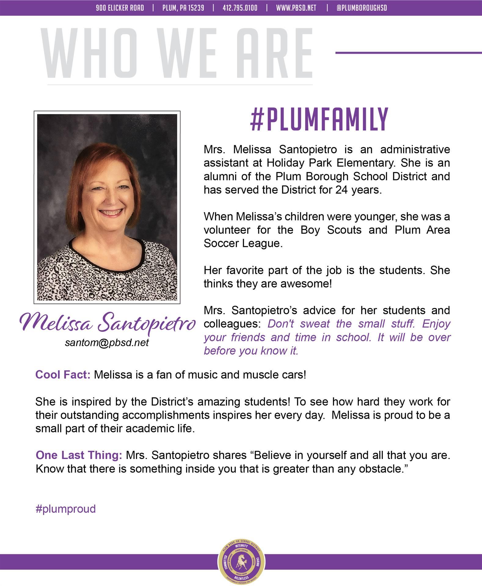 Who We Are Wednesday features Melissa Santopietro.