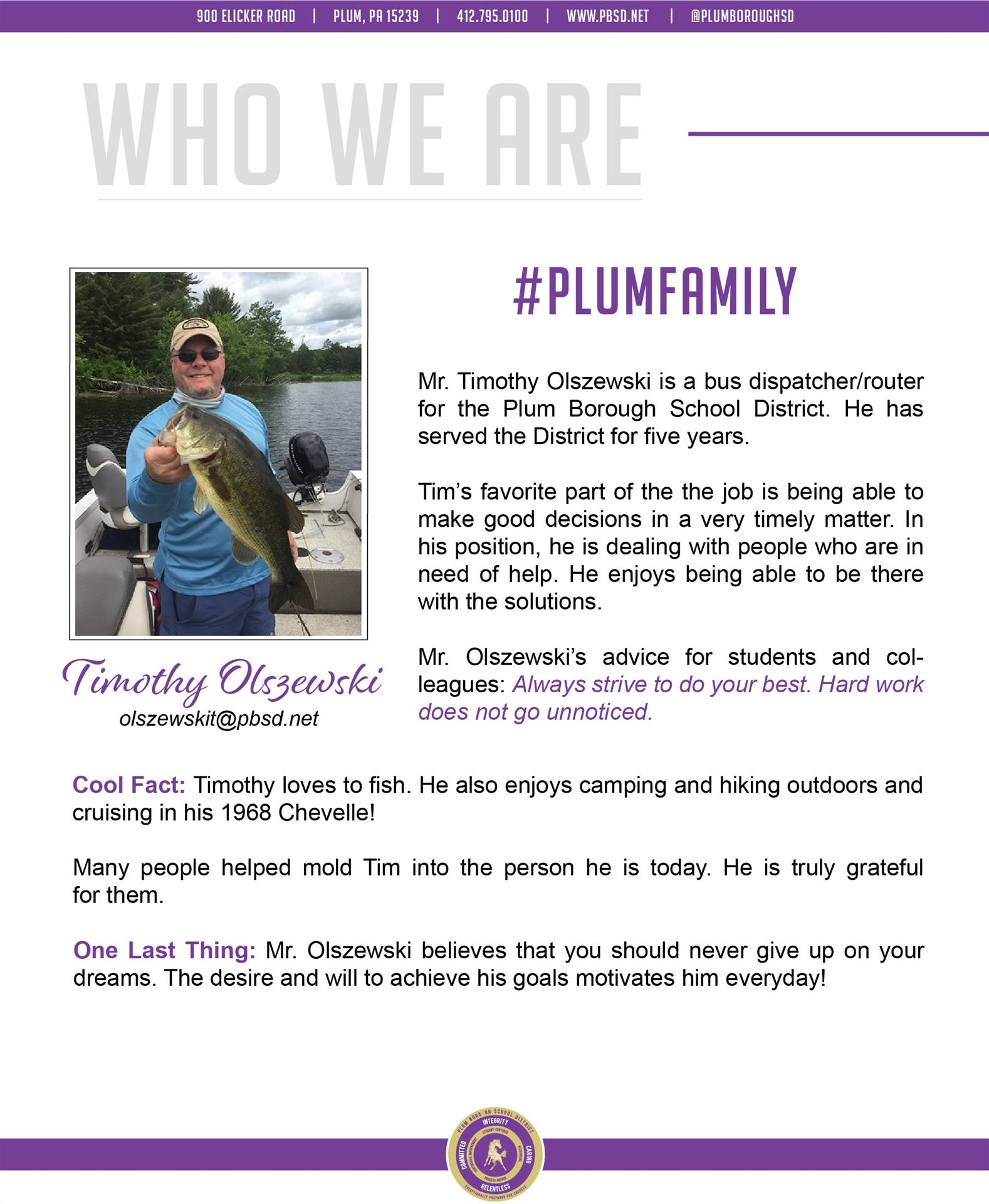 Who We Are Wednesday features Timothy Olszewski.