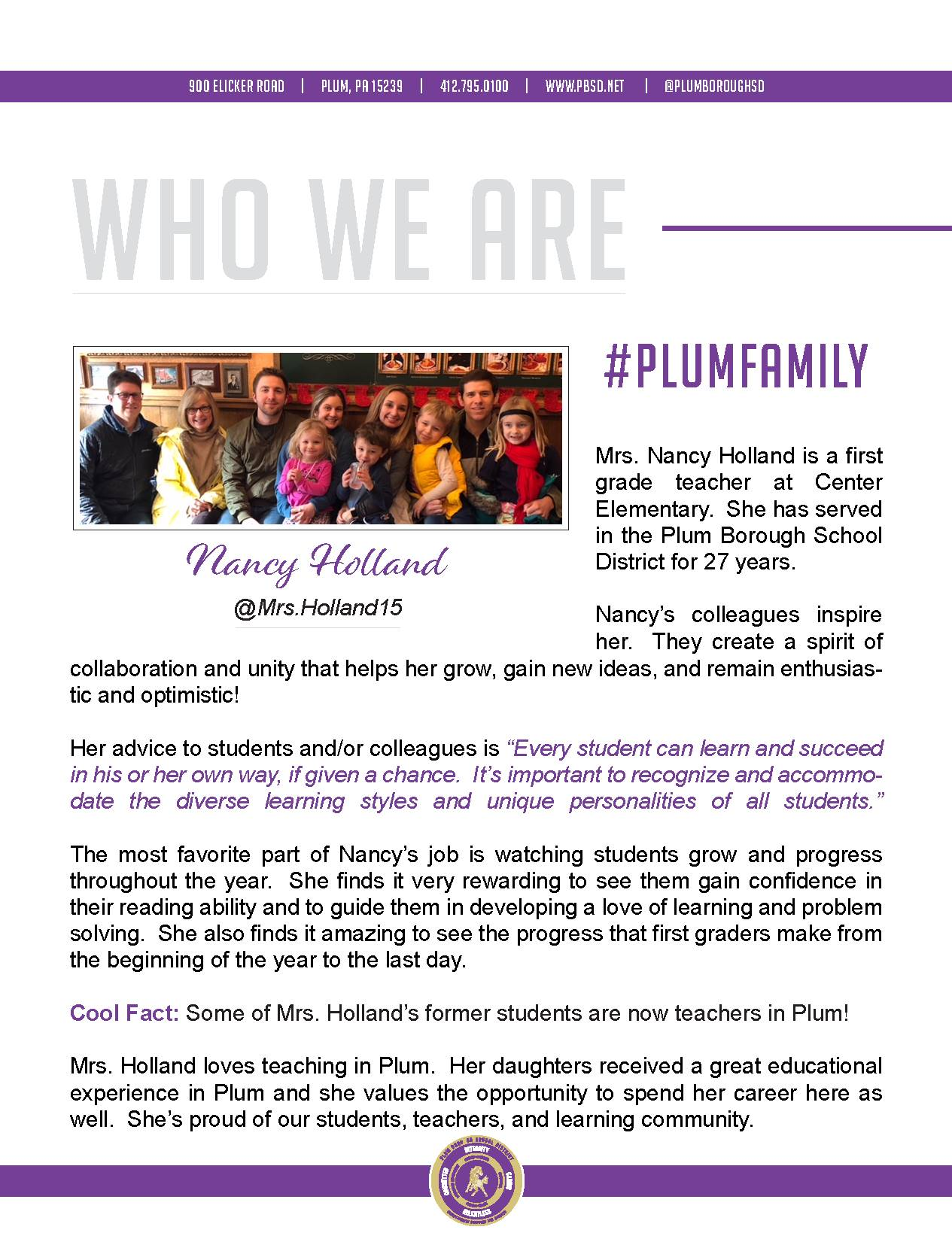 Who We Are Wednesday features Nancy Holland.