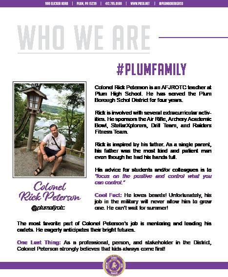 Who We Are Wednesday features Colonel Rick Peterson.