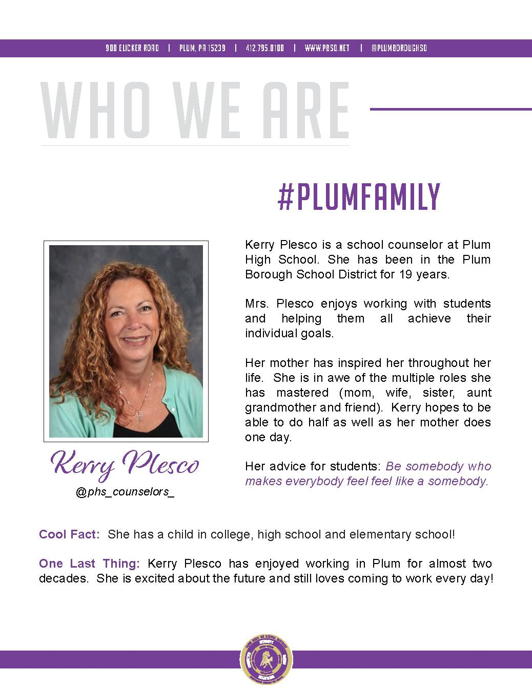 Who We Are Wednesday features Kerry Plesco.