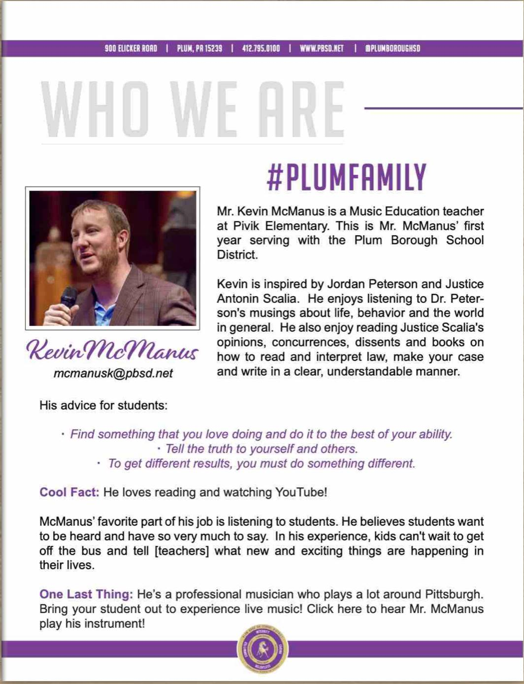 Who We Are Wednesday features Kevin McManus.