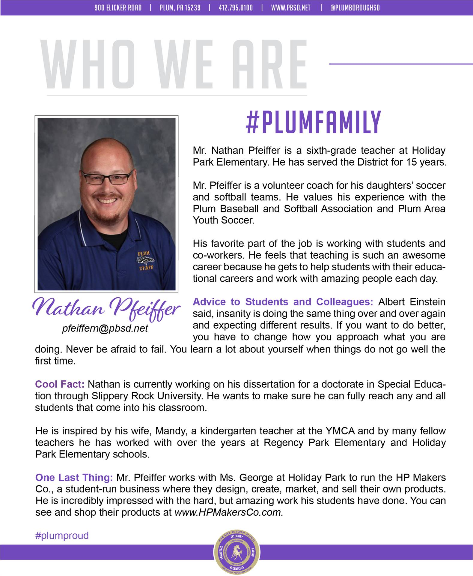 Who We Are Wednesday features Nathan Pfeiffer.