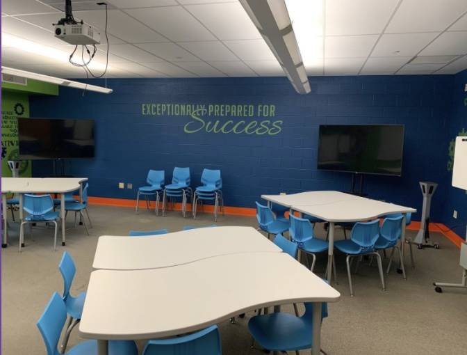 Oblock Junior High School Collaboration Room.