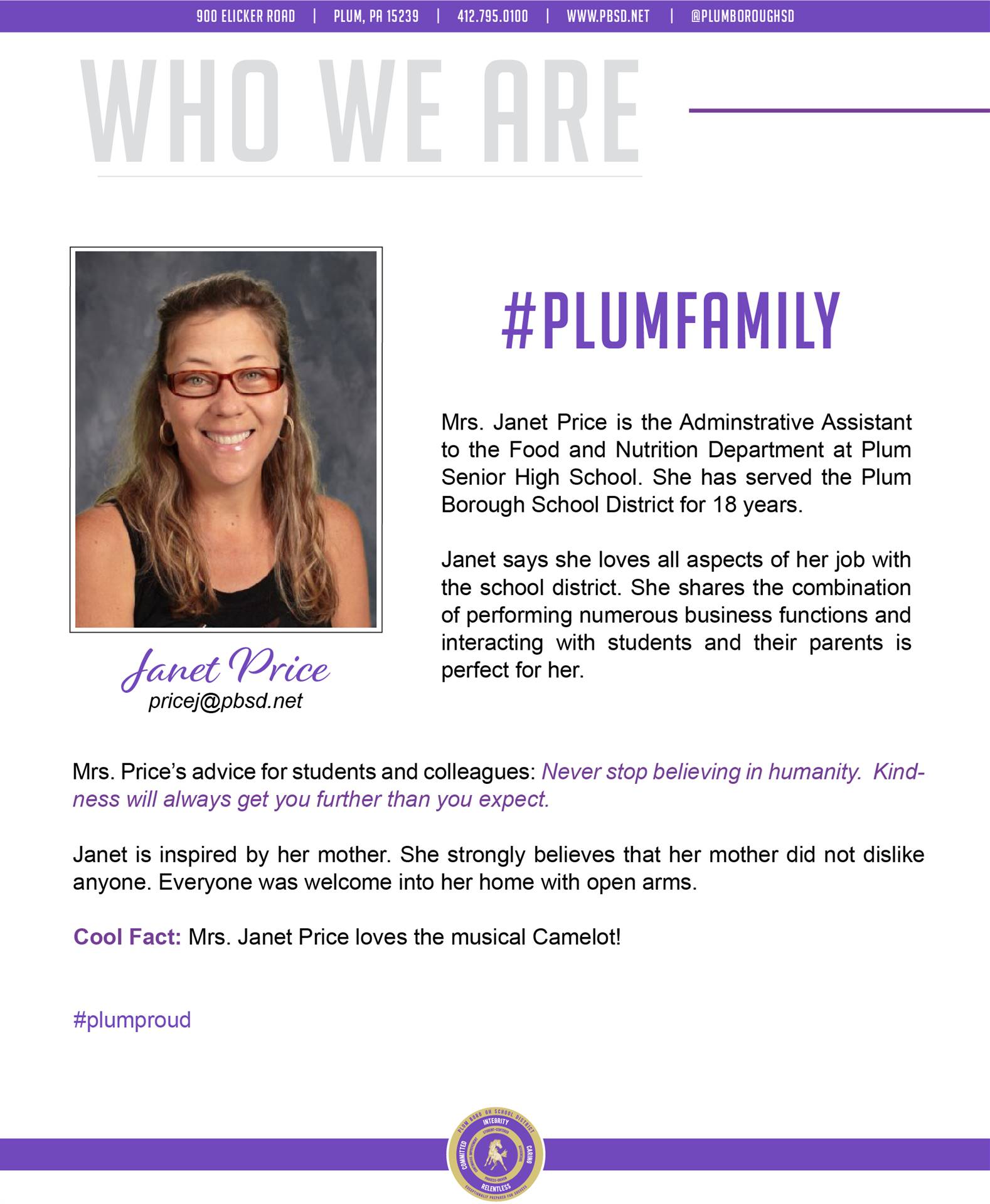 Who We Are Wednesday features Janet Price.