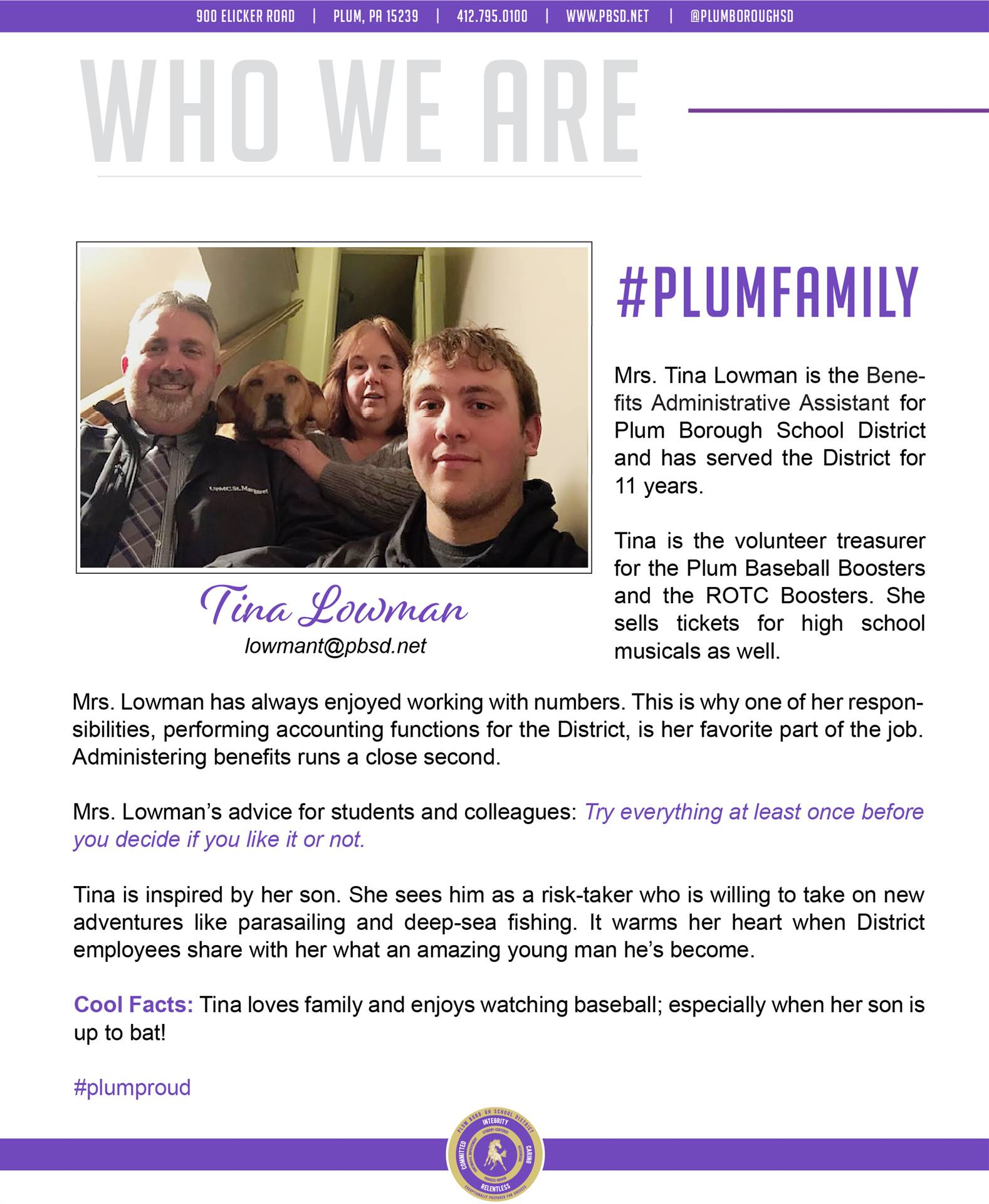 Who We Are Wednesday features Tina Lowman.