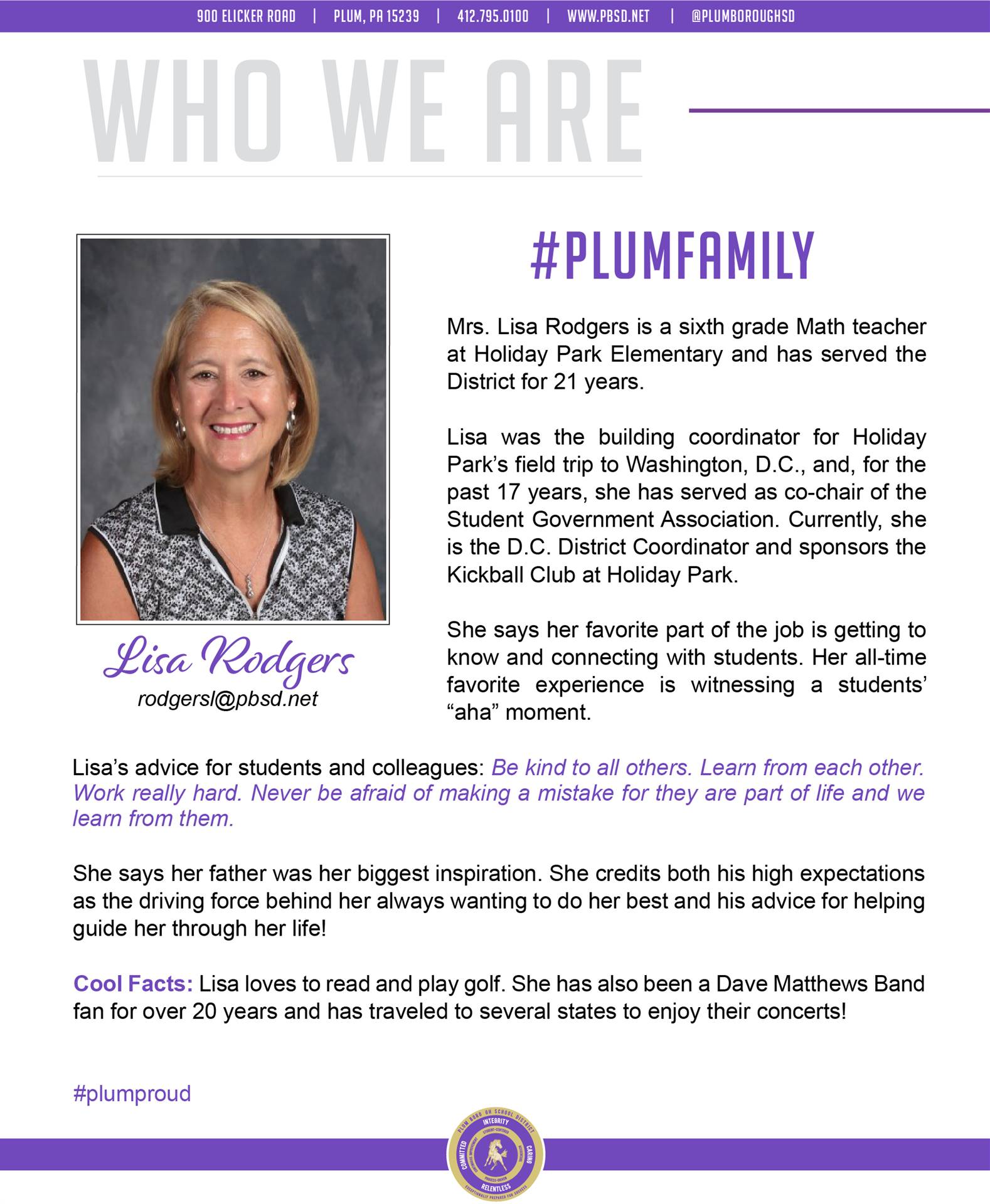 Who We Are Wednesday features Lisa Rodgers.