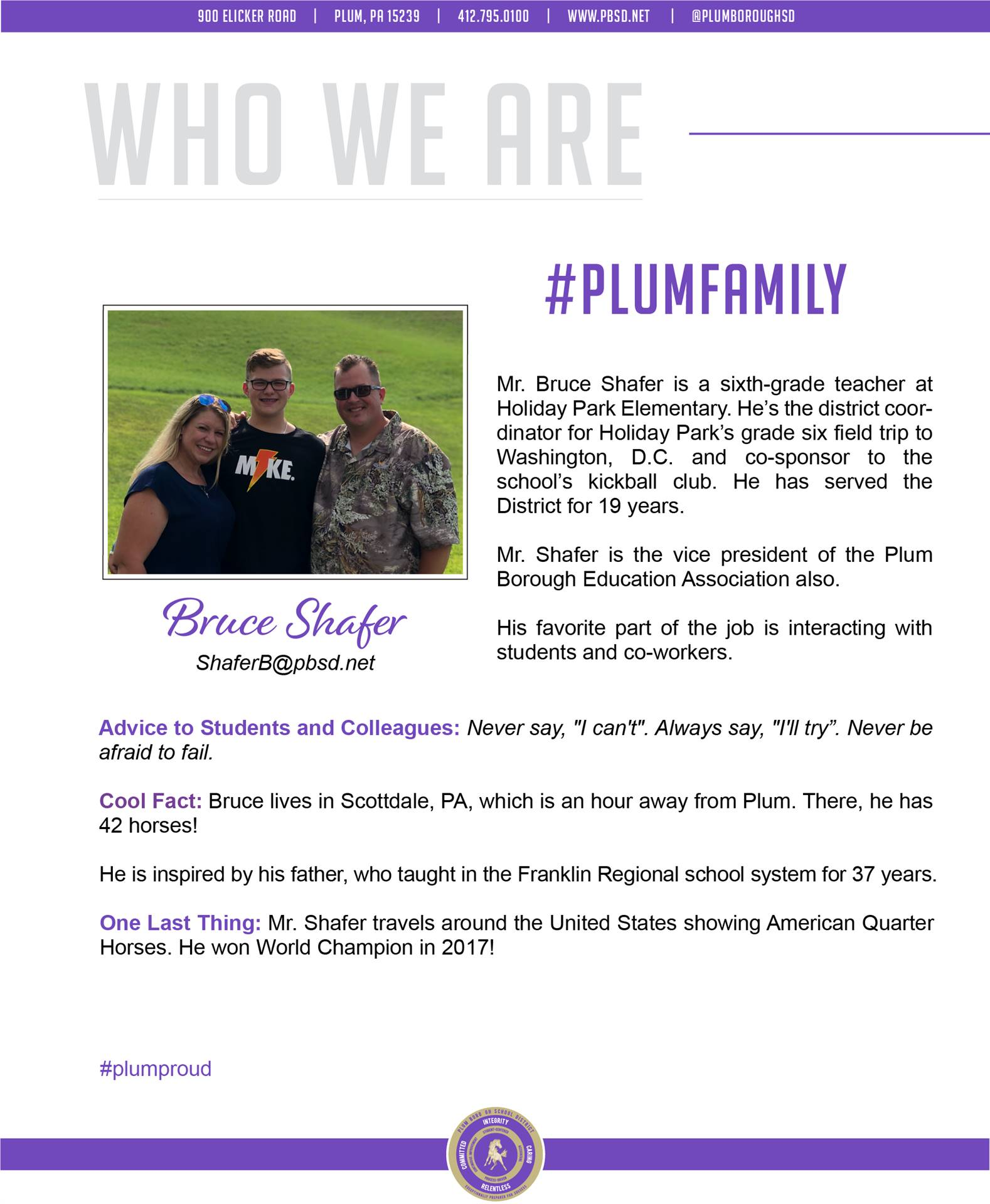 Who We Are Wednesday features Bruce Shafer.