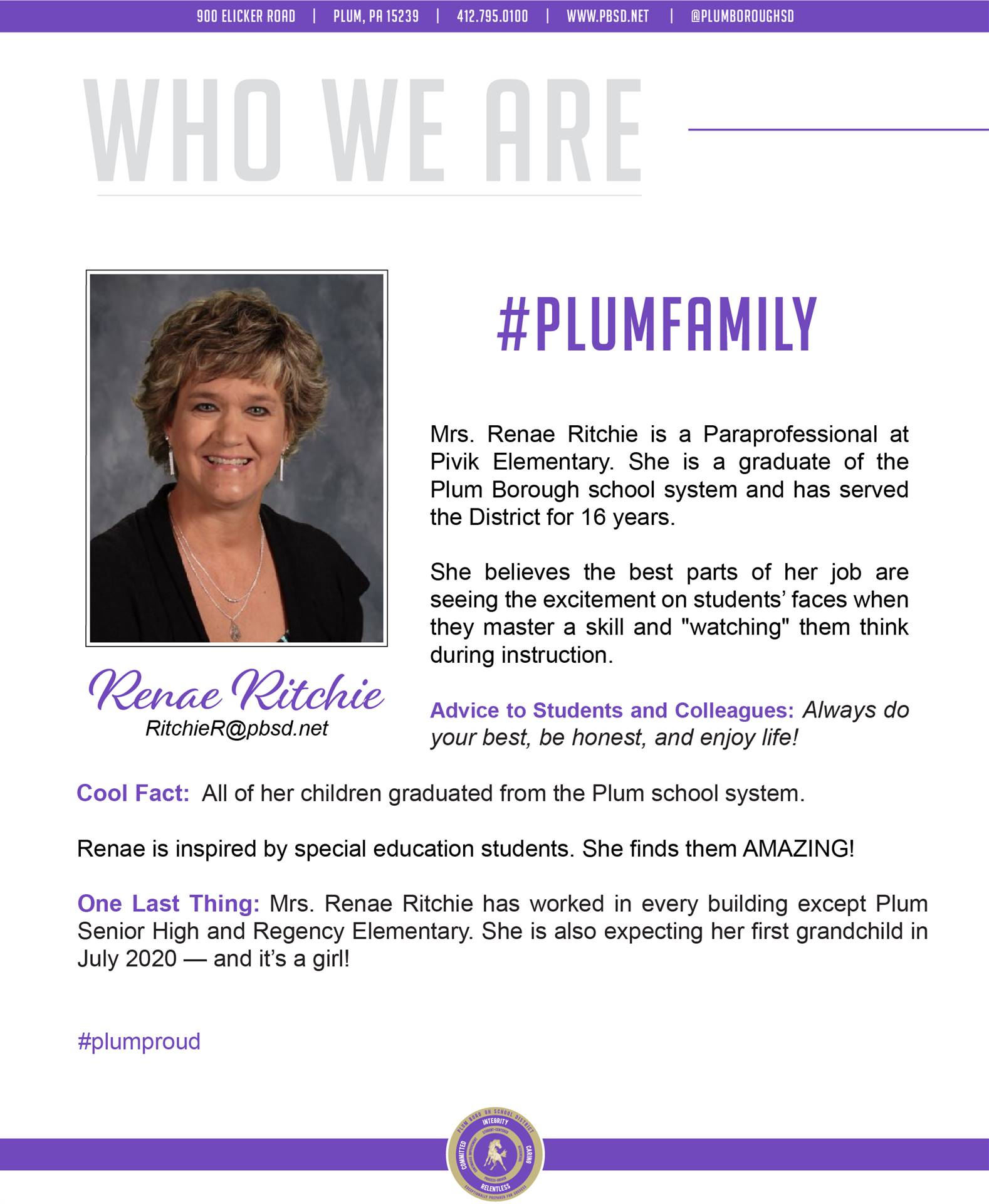 Who We Are Wednesday features Renae Ritchie.