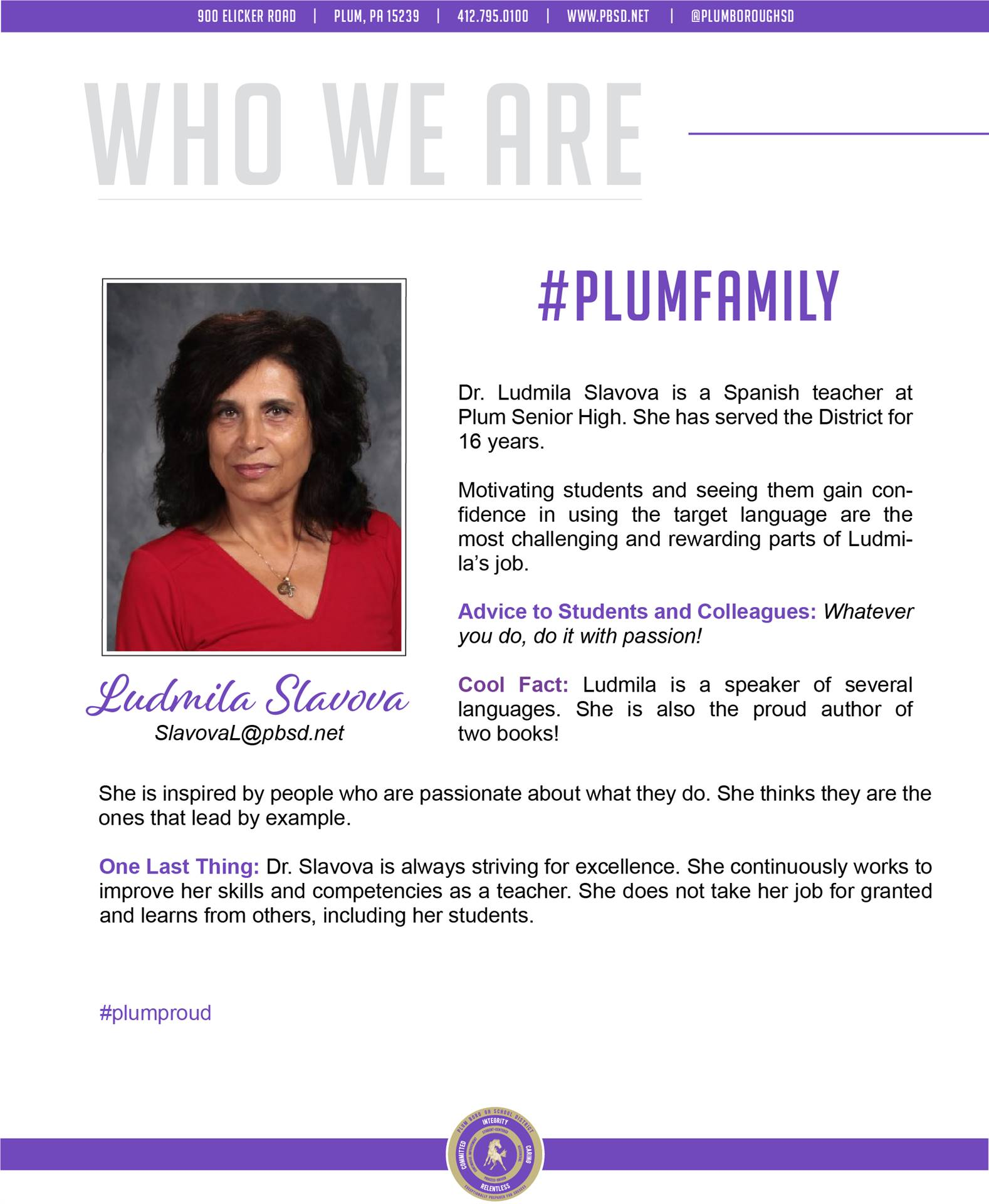 Who We Are Wednesday features Ludmila Slavova.