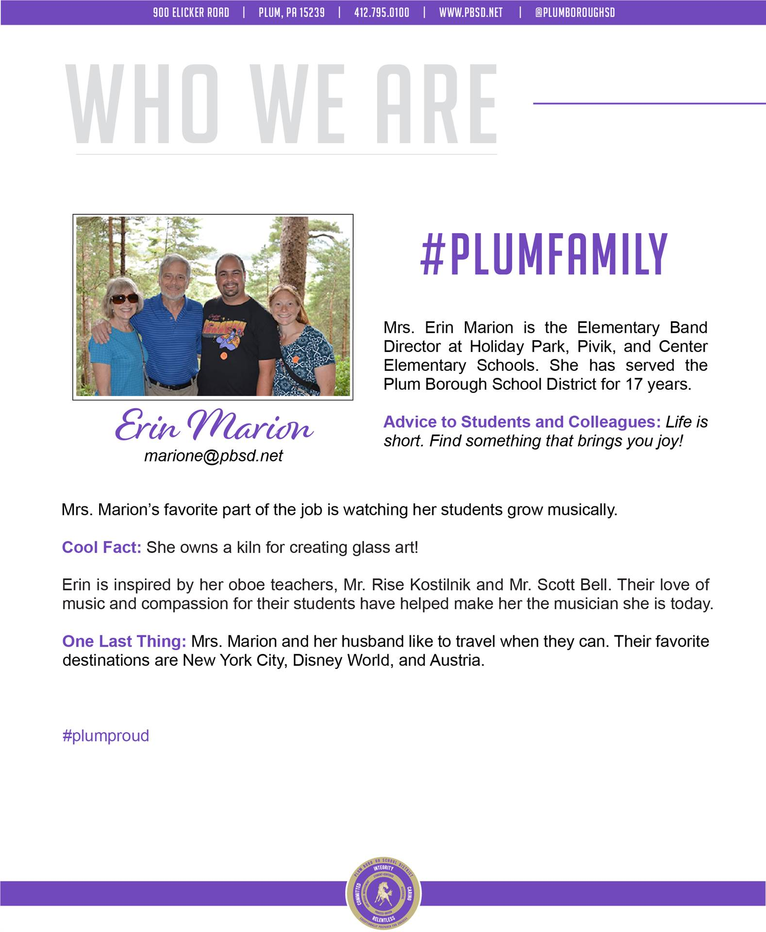 Who We Are Wednesday features Erin Marion.