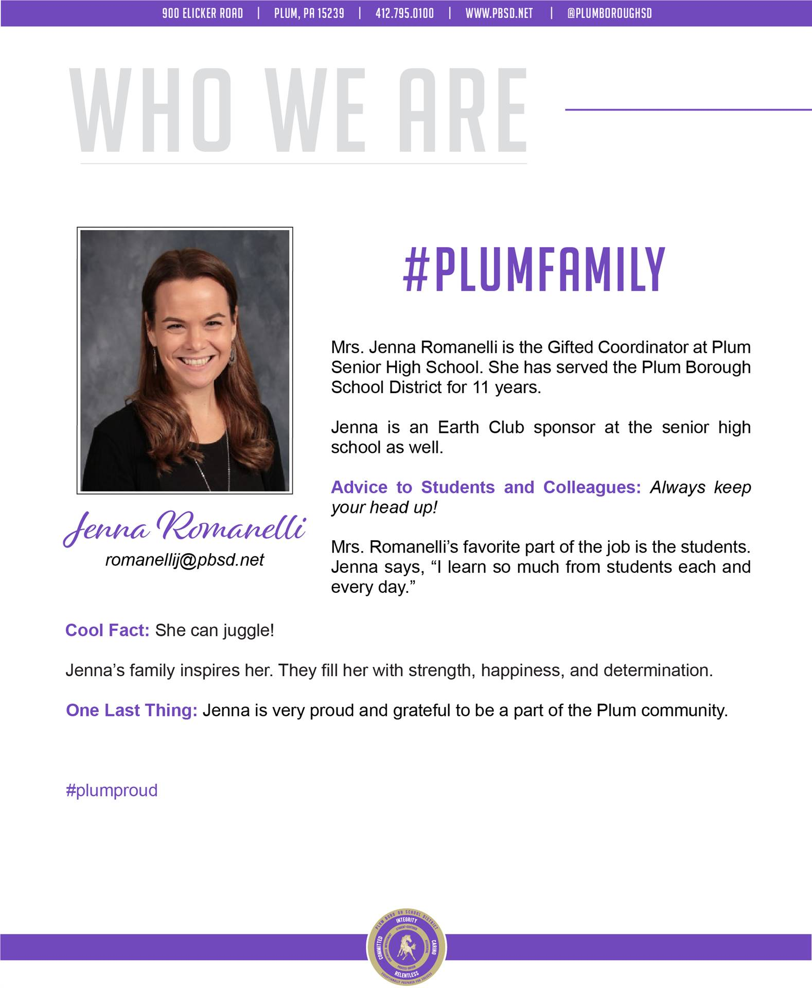 Who We Are Wednesday features Jenna Romanelli.