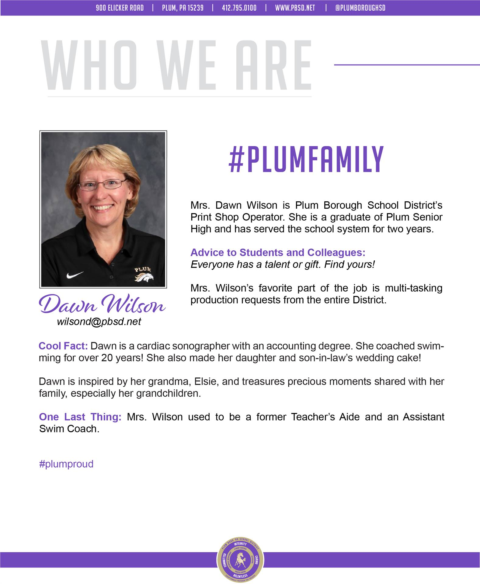 Who We Are Wednesday features Dawn Wilson.