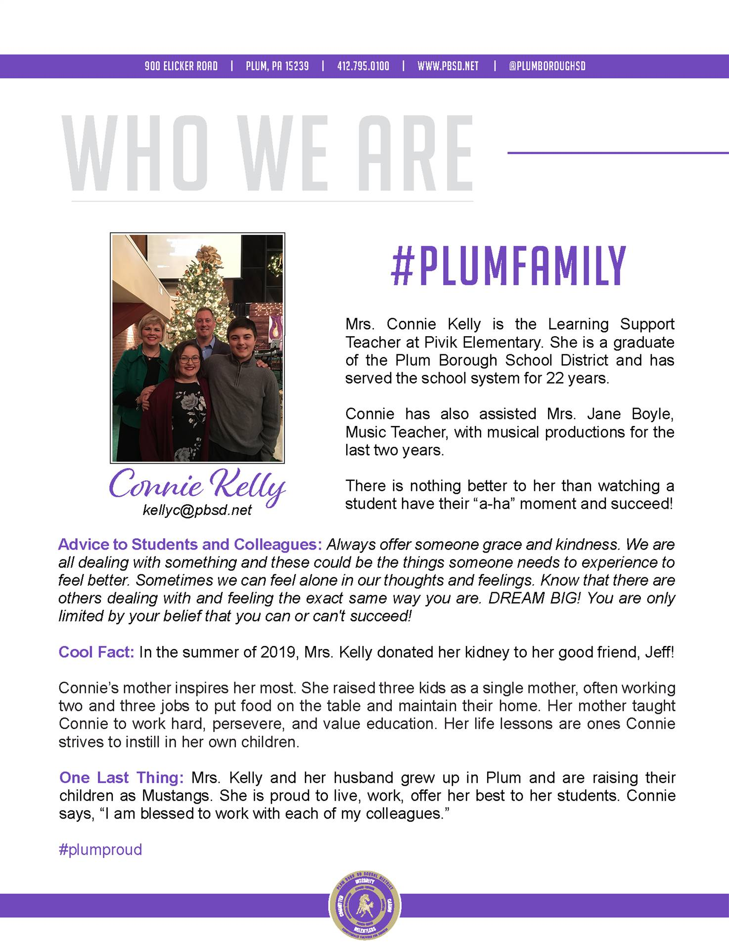Who We Are Wednesday features Connie Kelly.