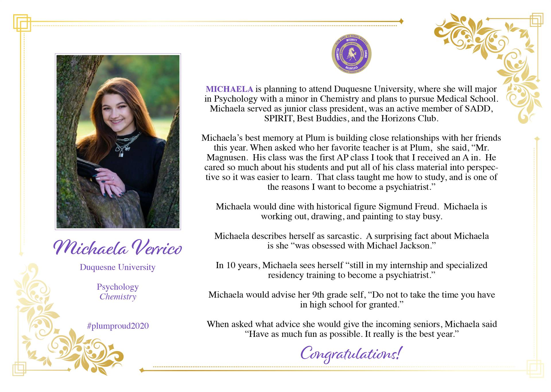 Senior Shout Out to Michaela Verrico