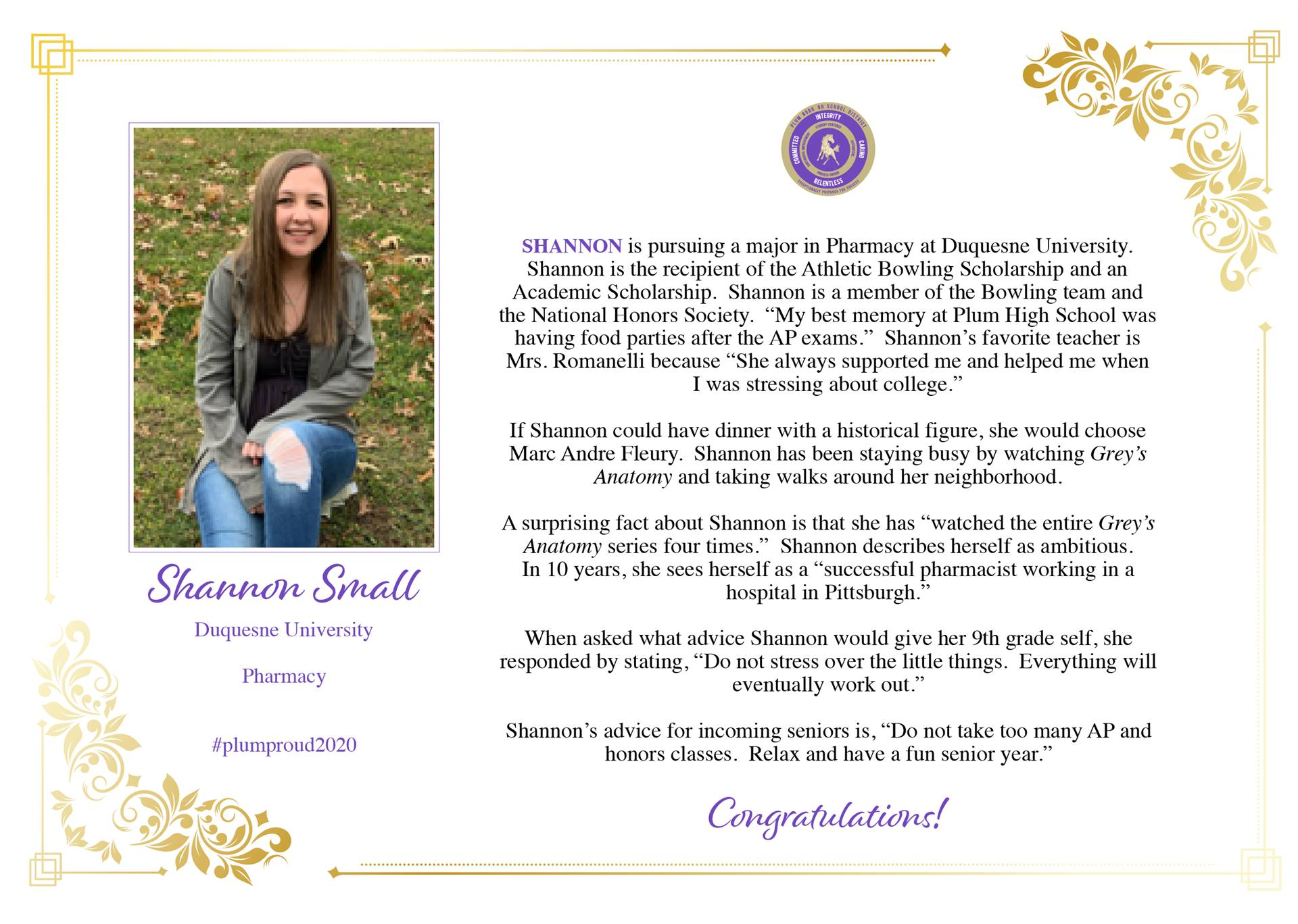 Senior Shout Out to Shannnon Small