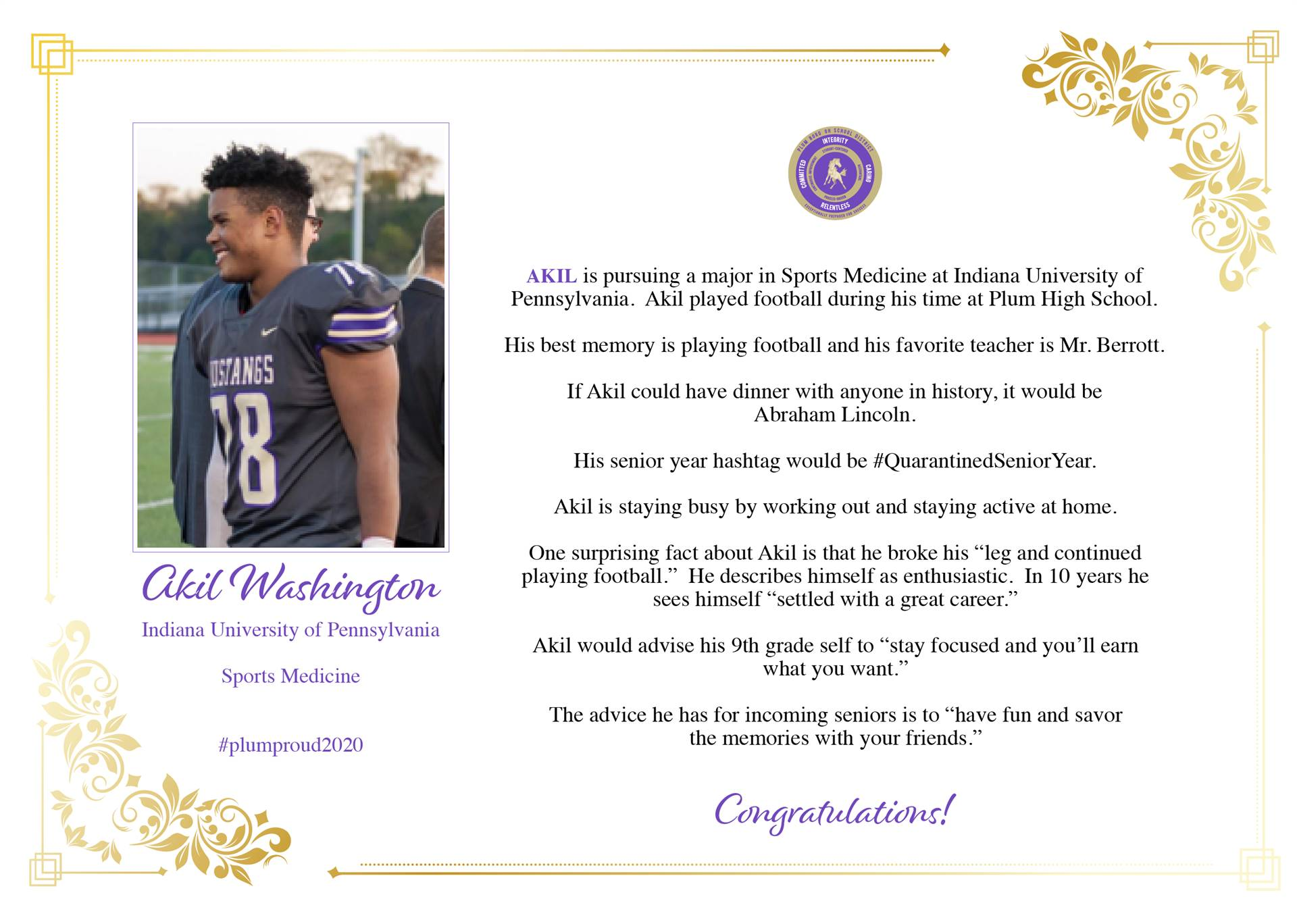 Senior Shout Out to Akil Washington