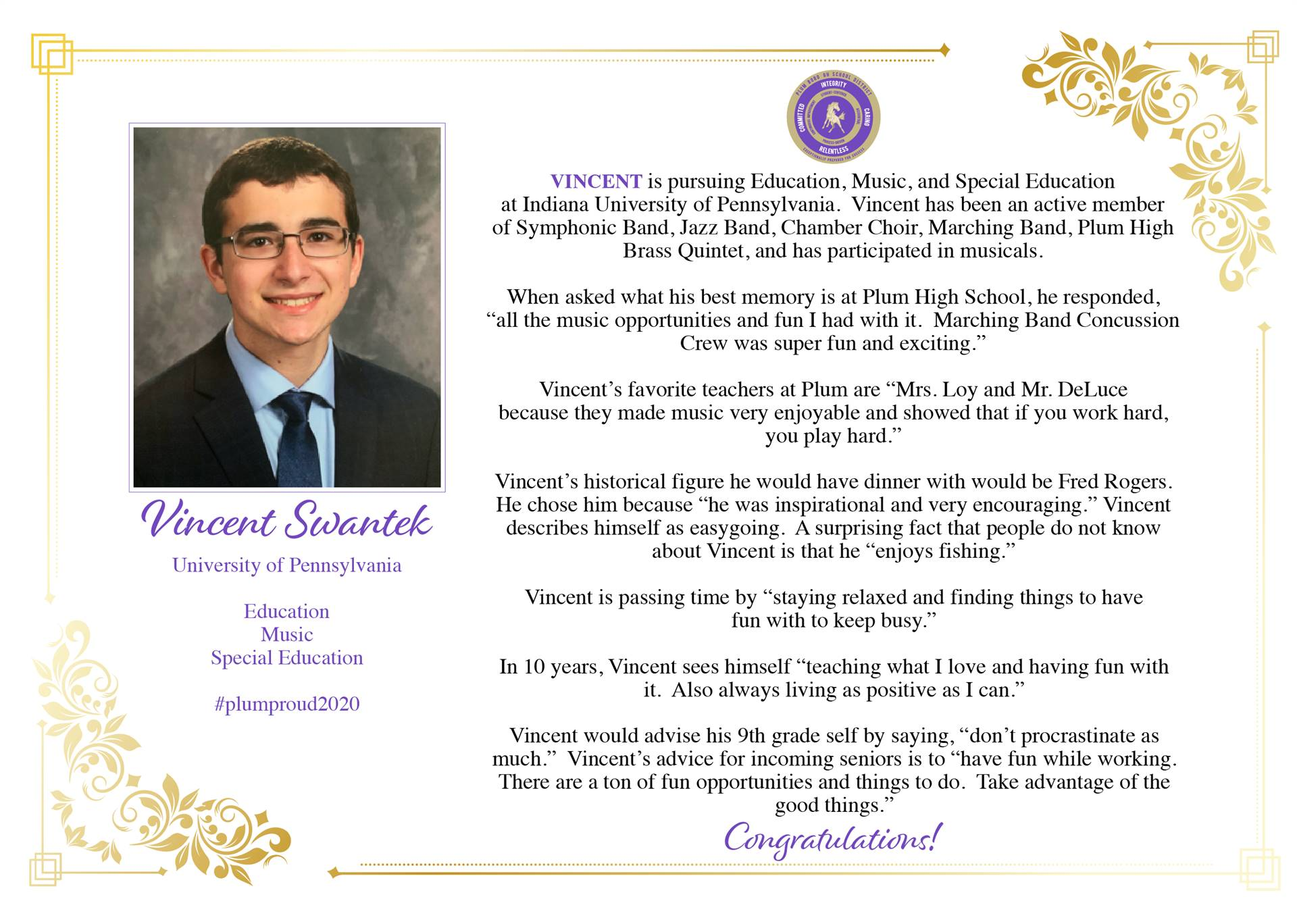 Senior Shout Out to Vincent Swantek