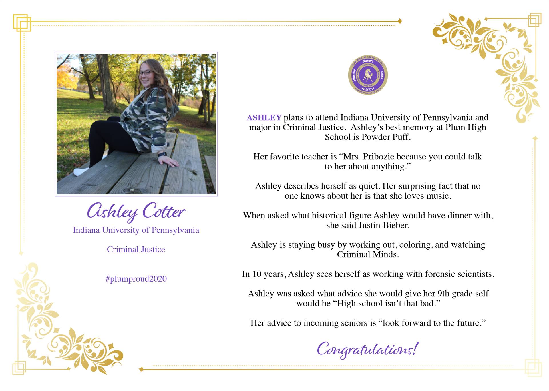 Senior Shout Out to Ashley Cotter