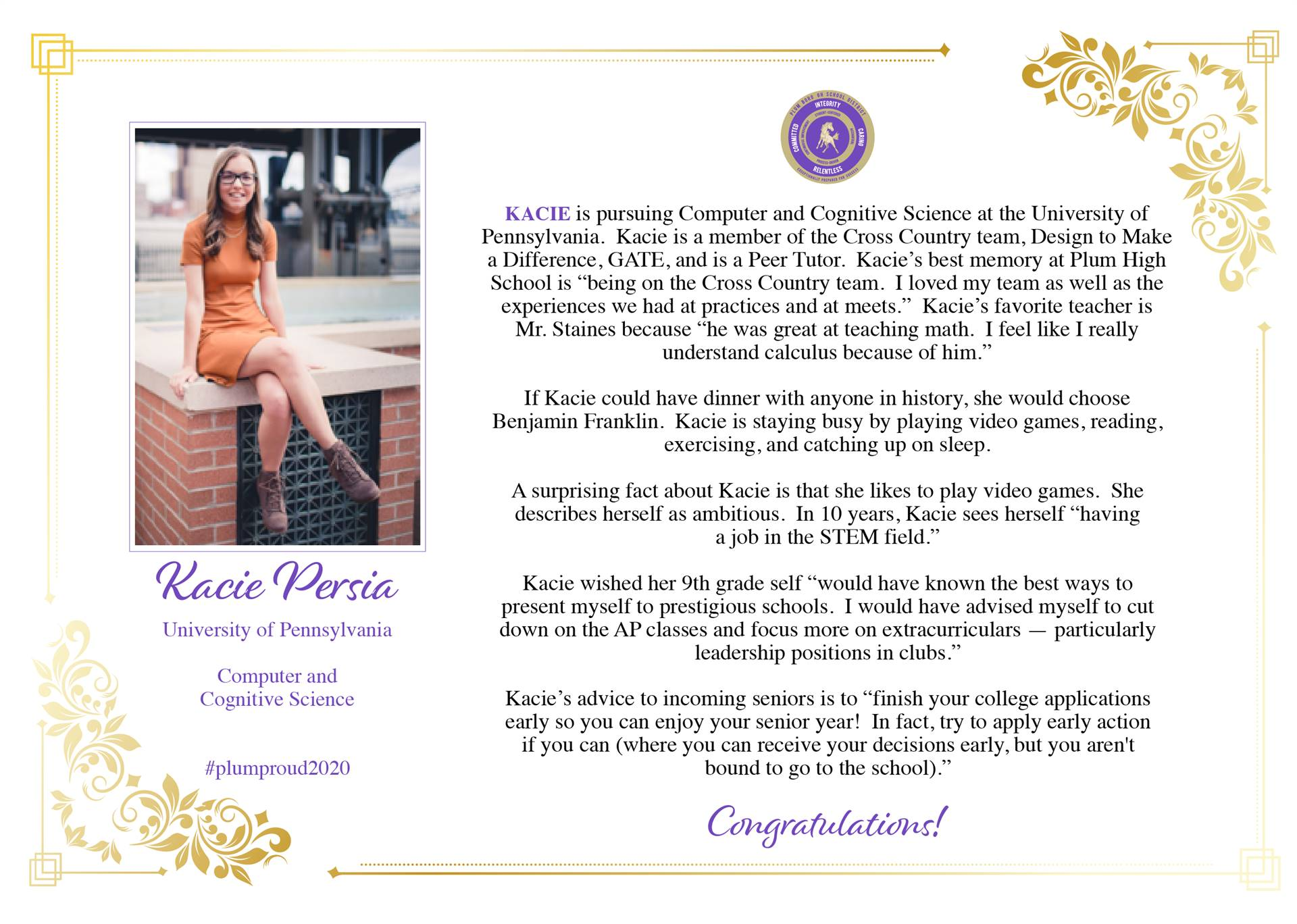 Senior Shout Out to Kacie Persia