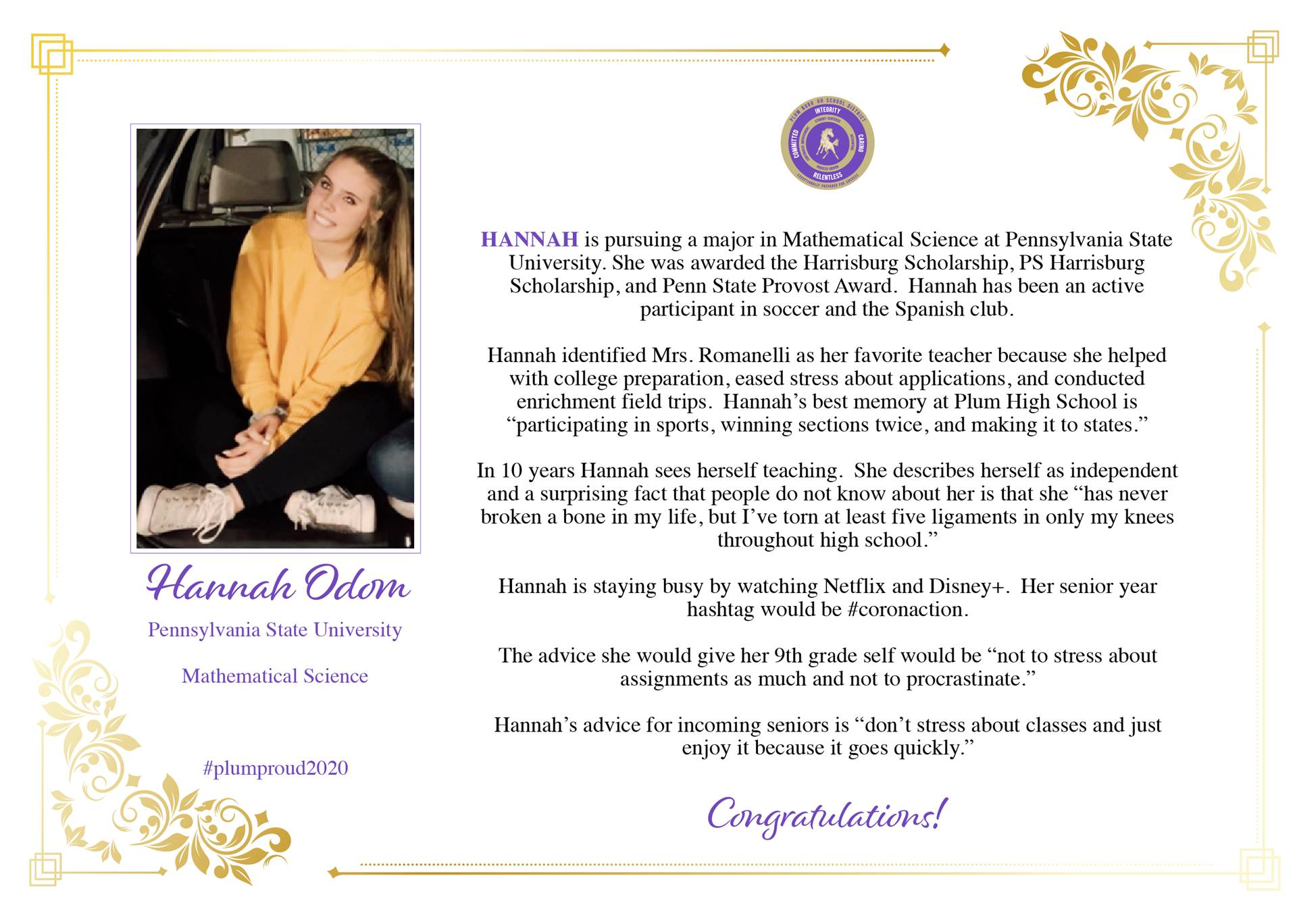 Senior Shout Out to Hannah Odom