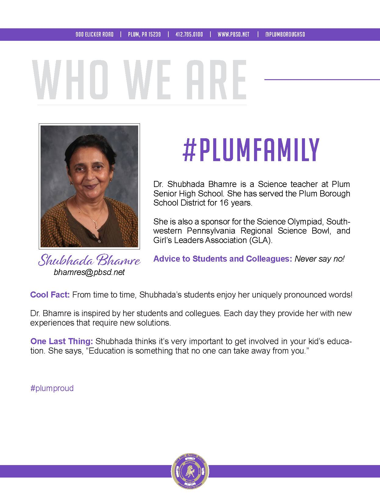 Who We Are Wednesday features Shubhada Bhambre.