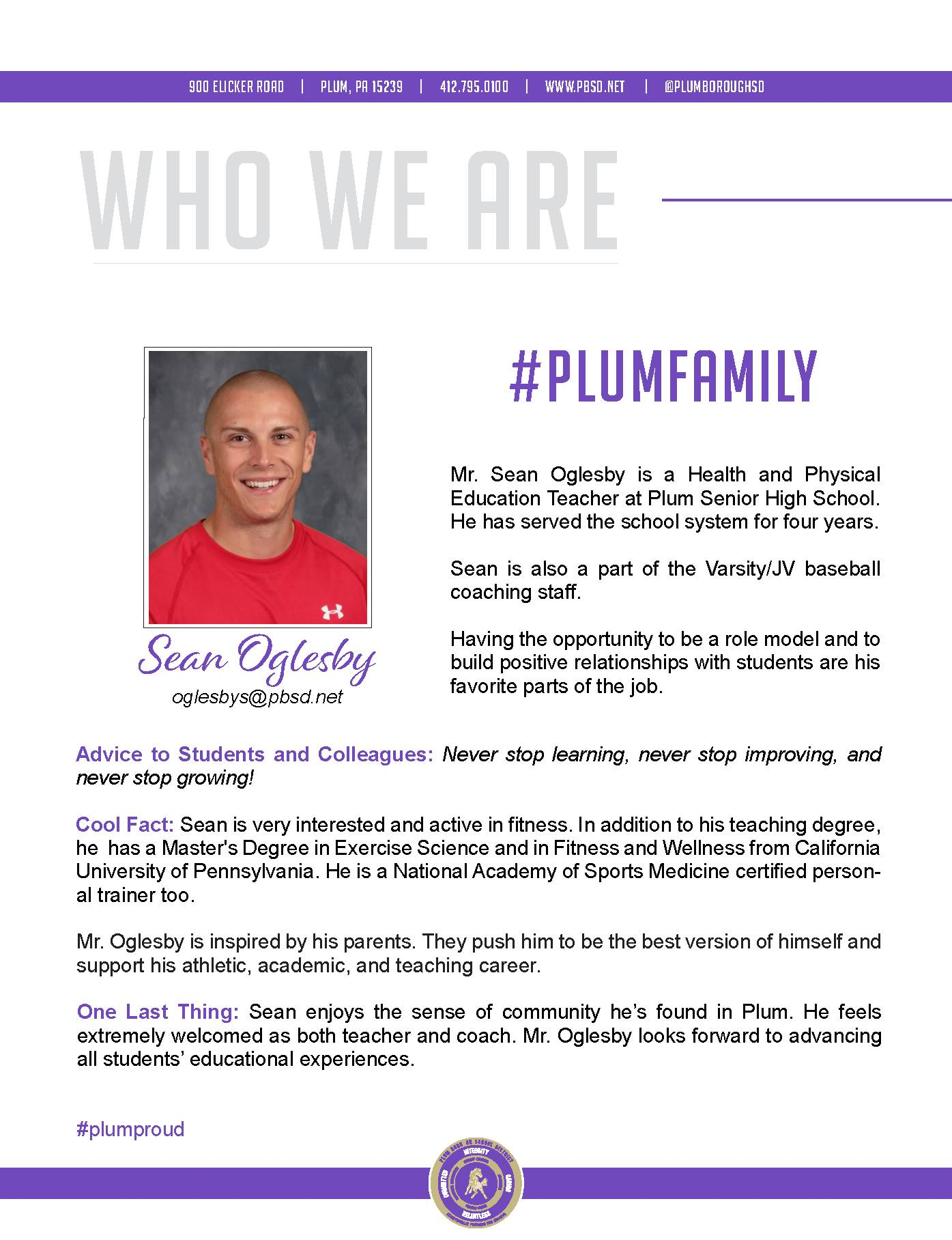 Who We Are Wednesday features Sean Oglesby.