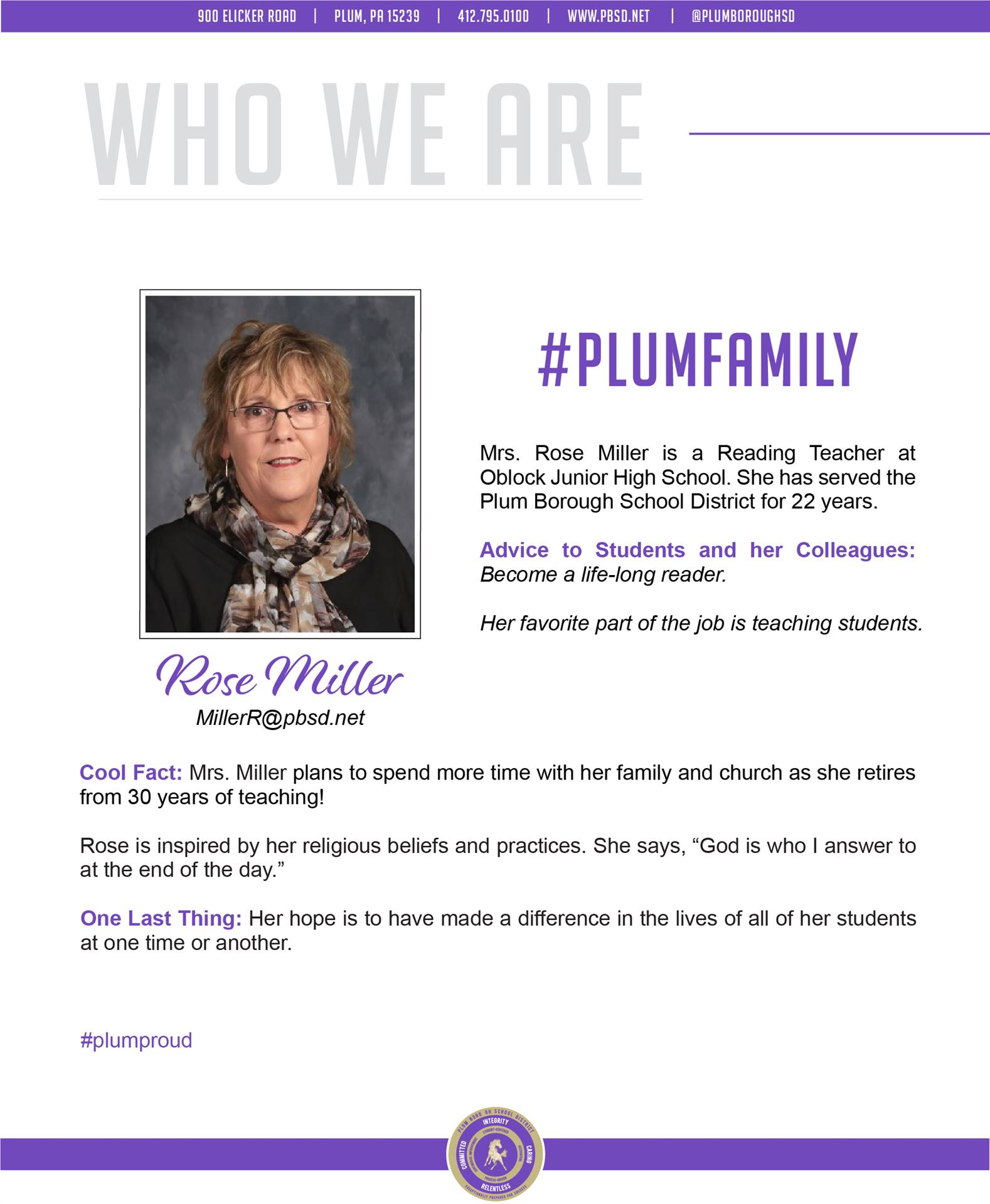 Who We Are Wednesday features Rose Miller.