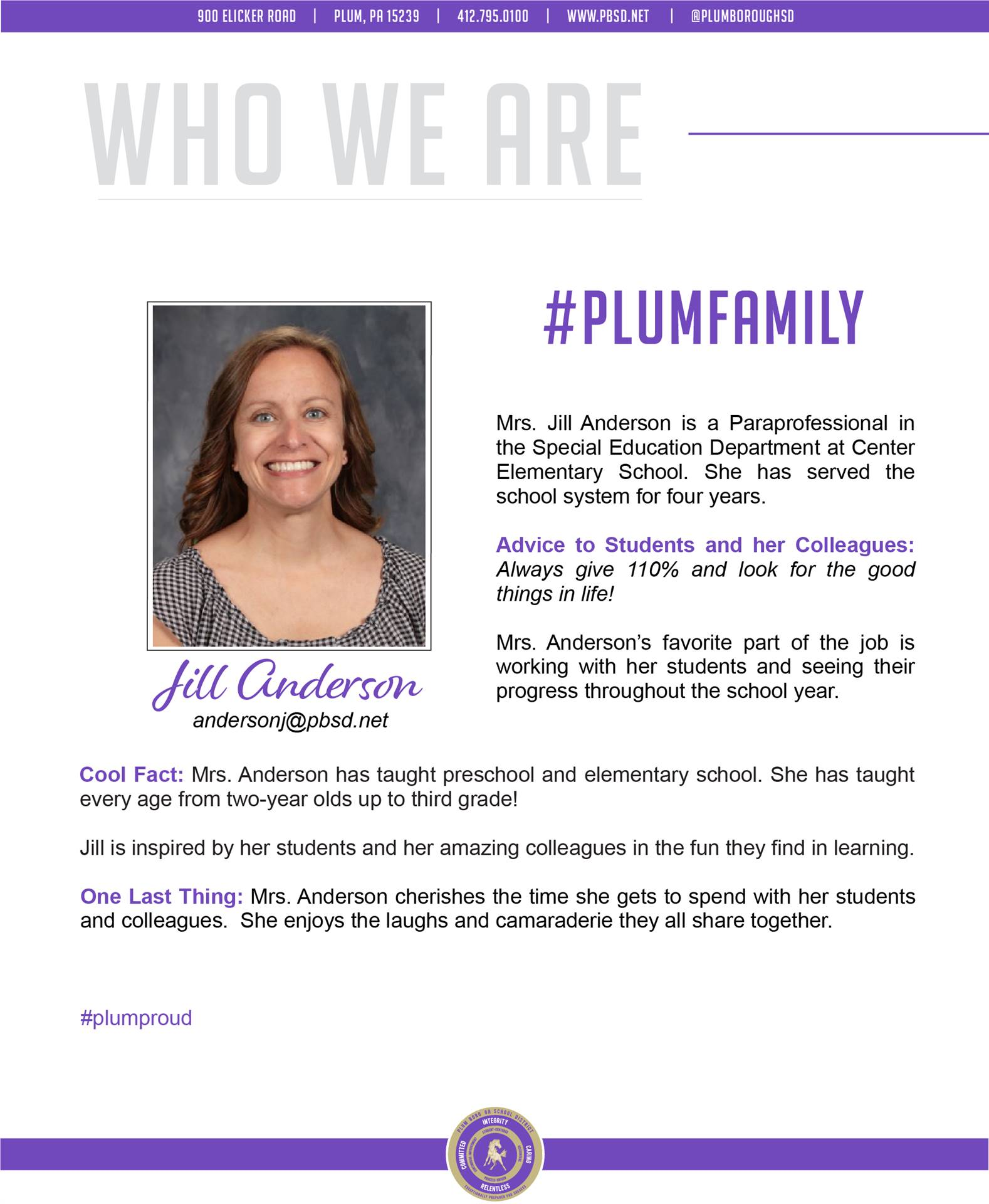 Who We Are Wednesday features Jill Anderson.