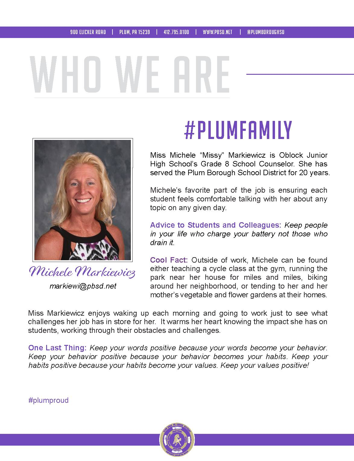 Who We Are Wednesday features Michele Markiewicz.