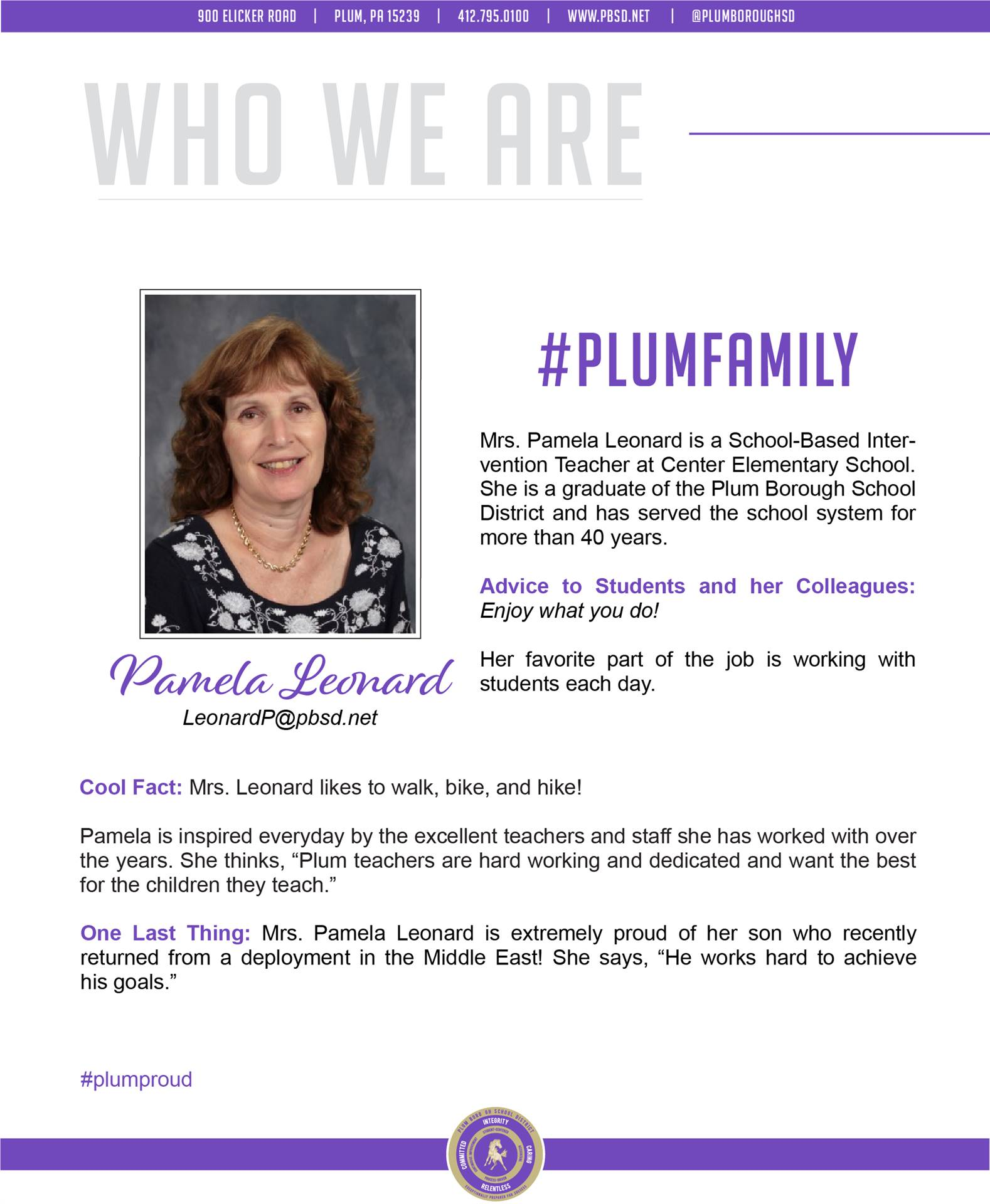 Who We Are Wednesday features Pamela Leonard.