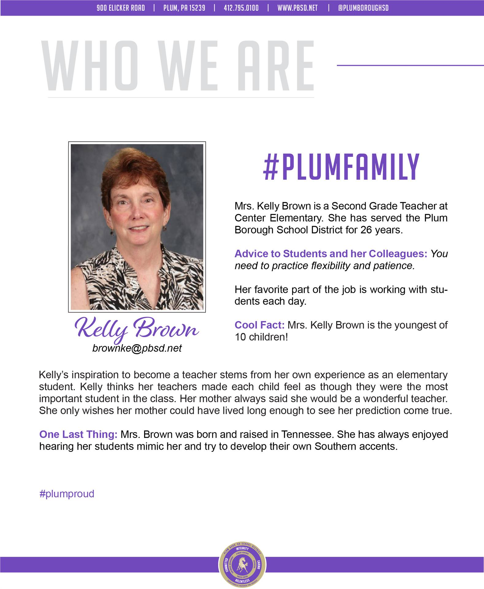 Who We Are Wednesday features Kelly Brown.