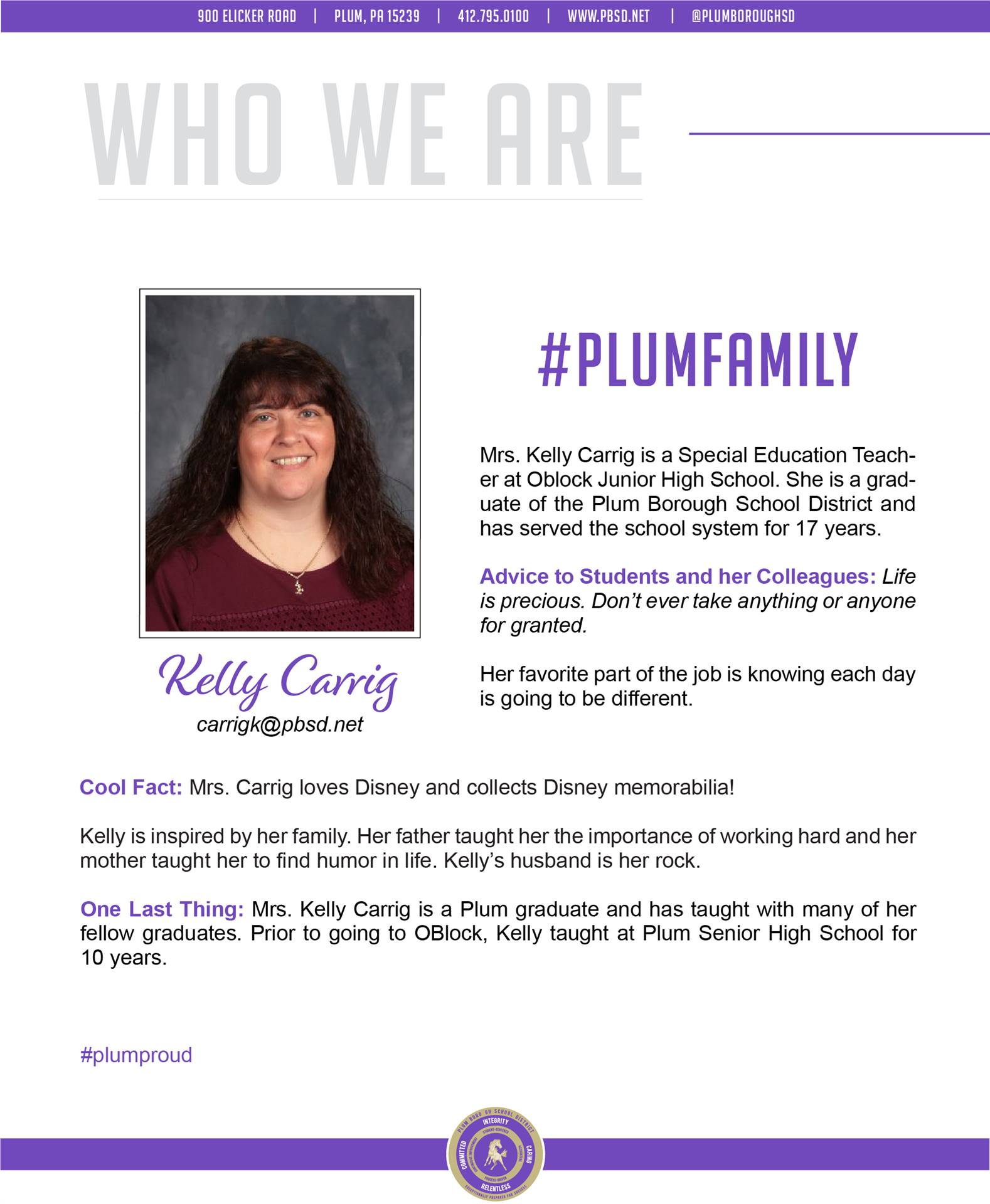 Who We Are Wednesday features Kelly Carrig.