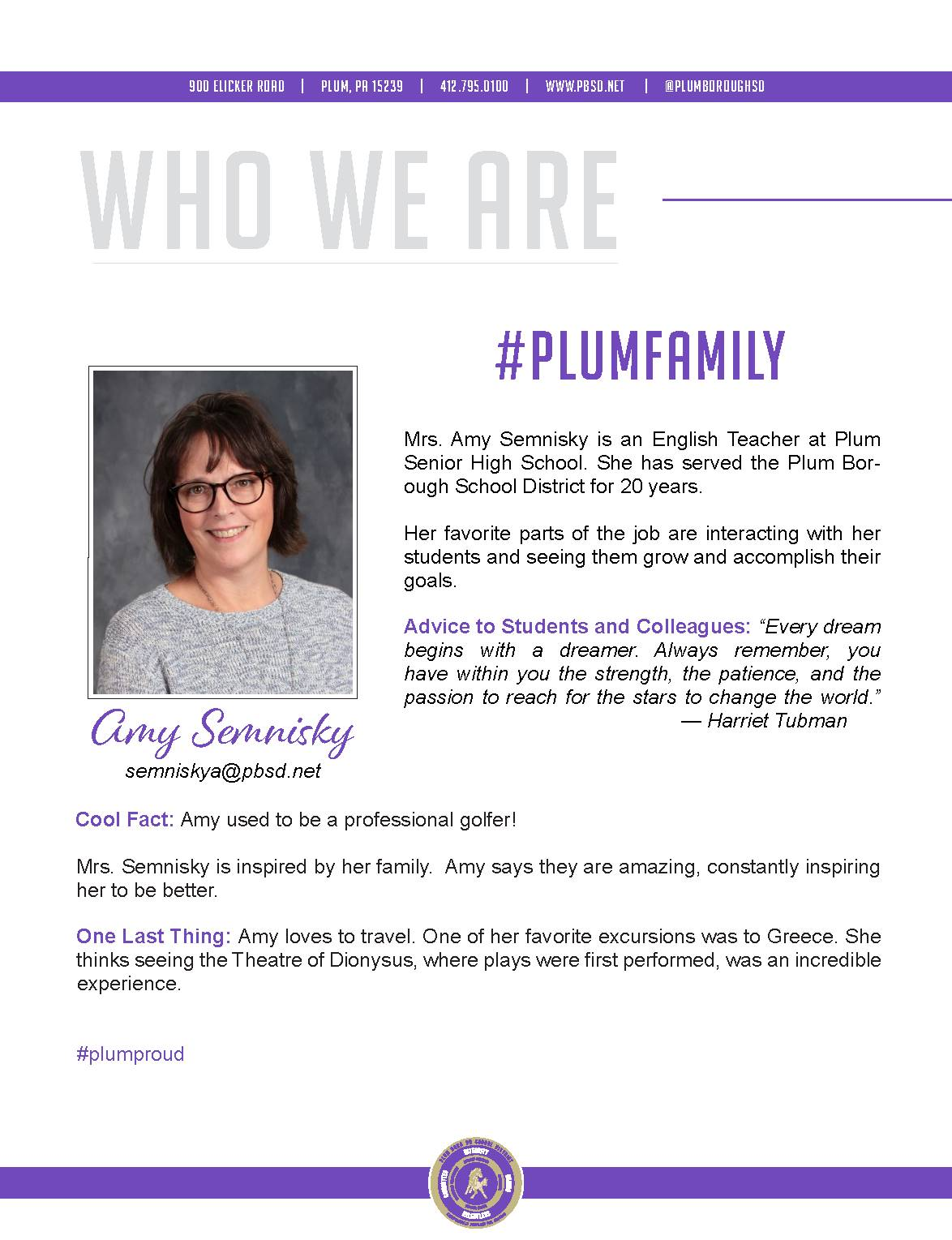 Who We Are Wednesday features Amy Semnisky.