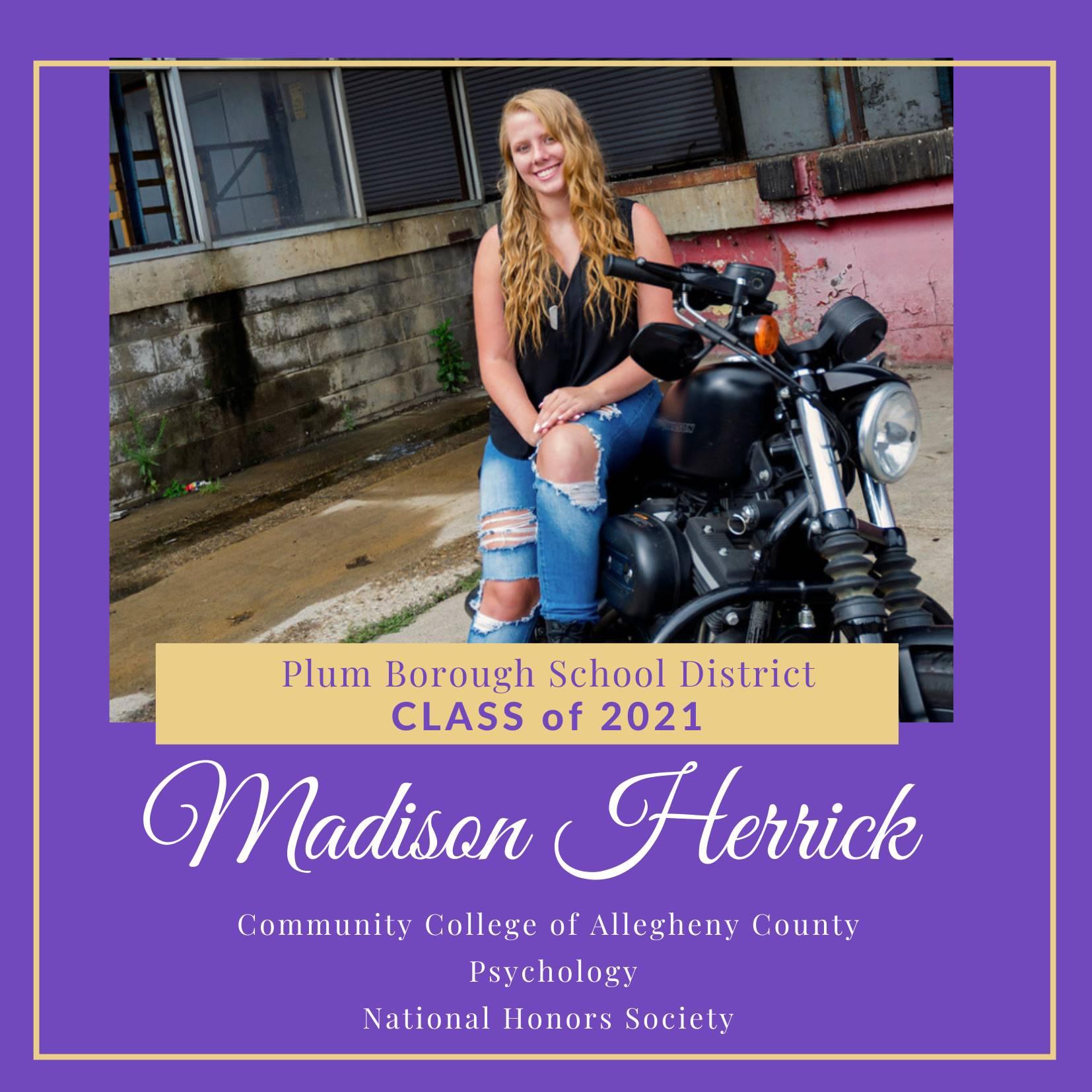 Congratulations to Madison Herrick, Class of 2021!