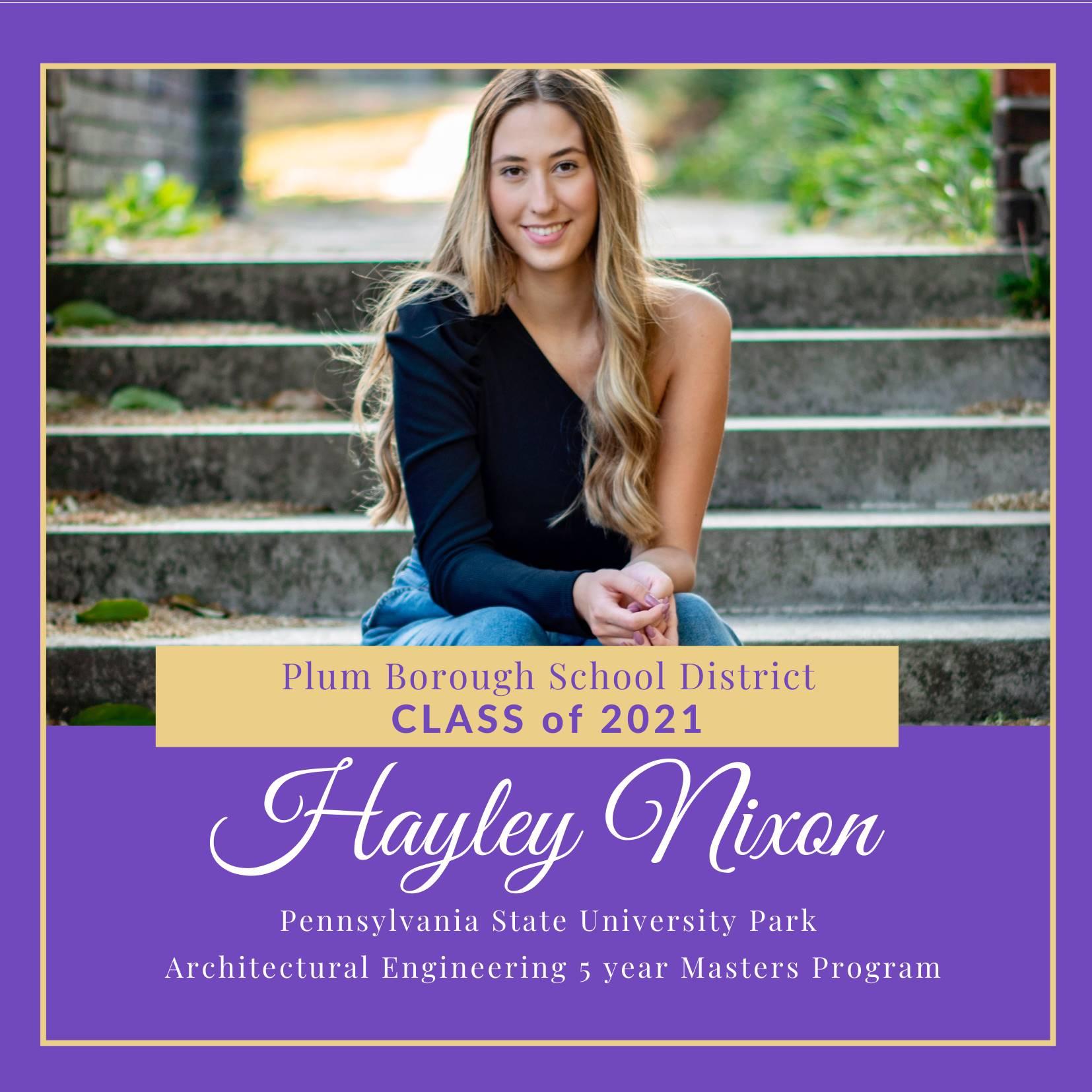 Congratulations to Hayley Nixon, Class of 2021!