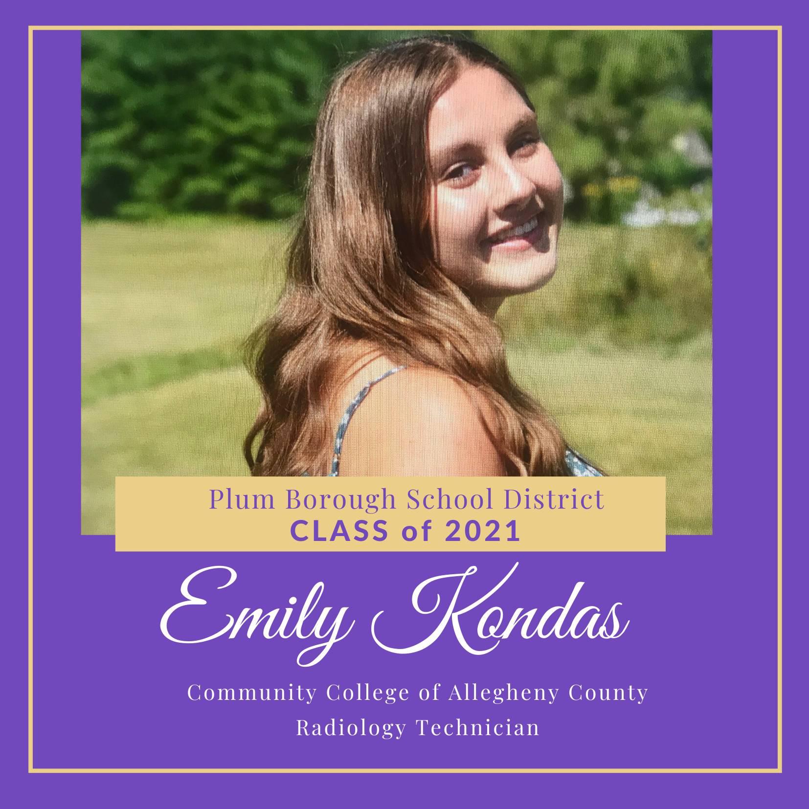 Congratulations to Emily Kondas, Class of 2021!