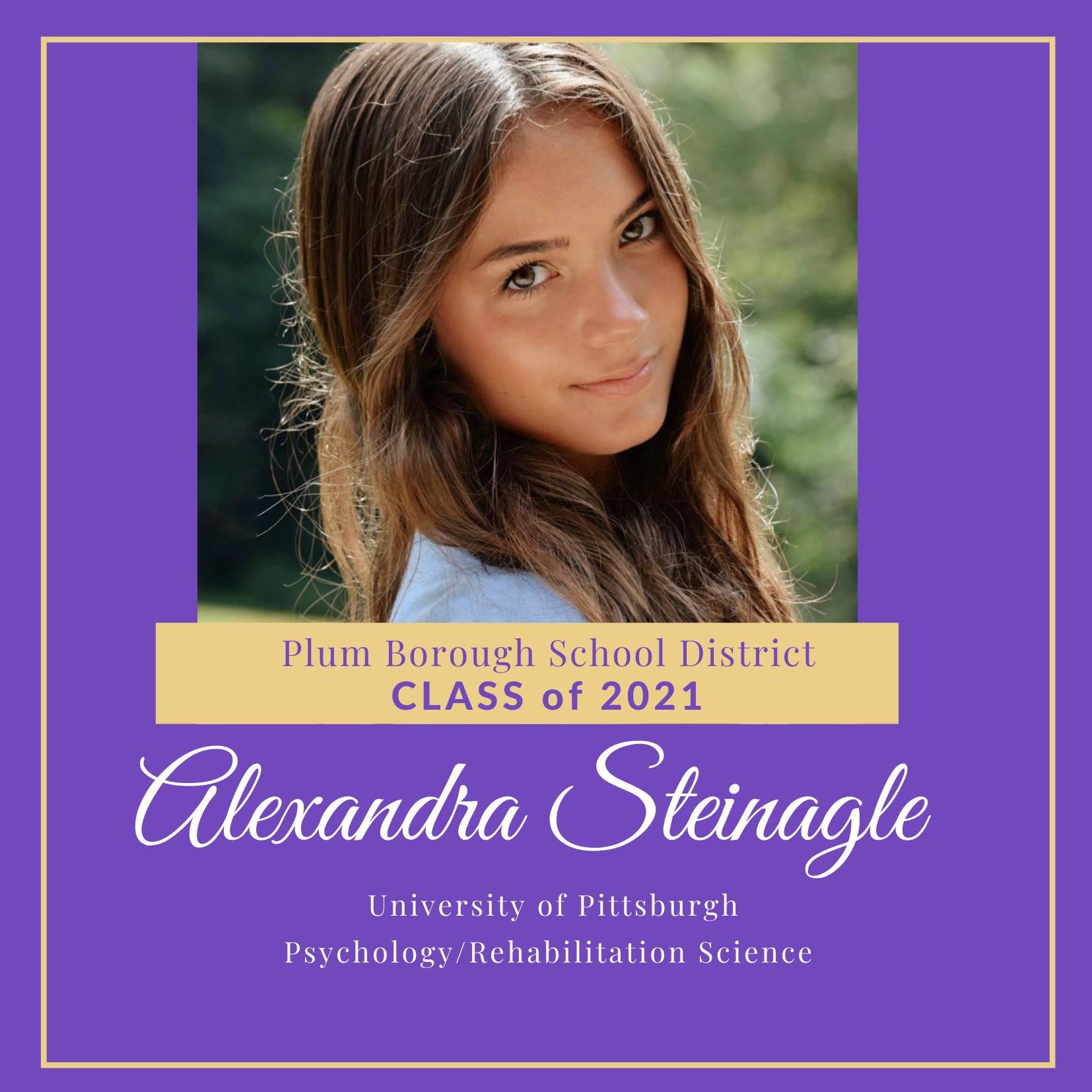 Congratulations to Alexandra Steinagle, Class of 2021!