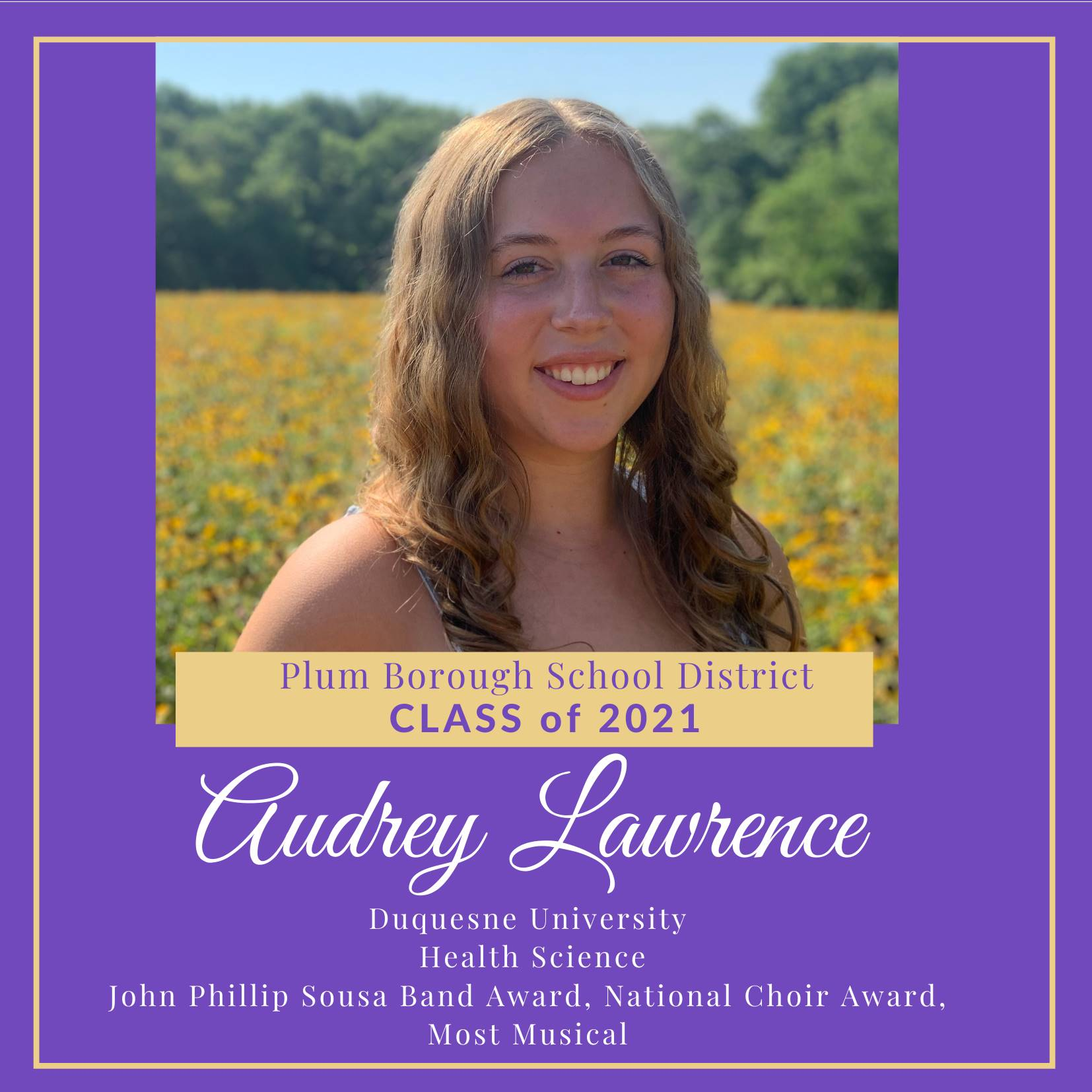 Congratulations to Audrey Lawrence, Class of 2021!